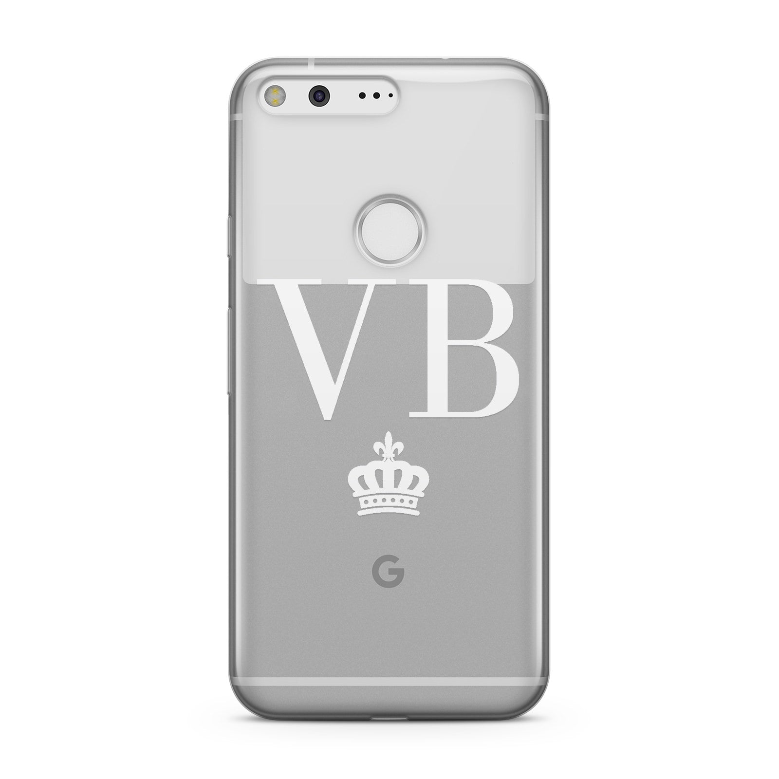 Personalised White Initials & Crown Clear Google Case