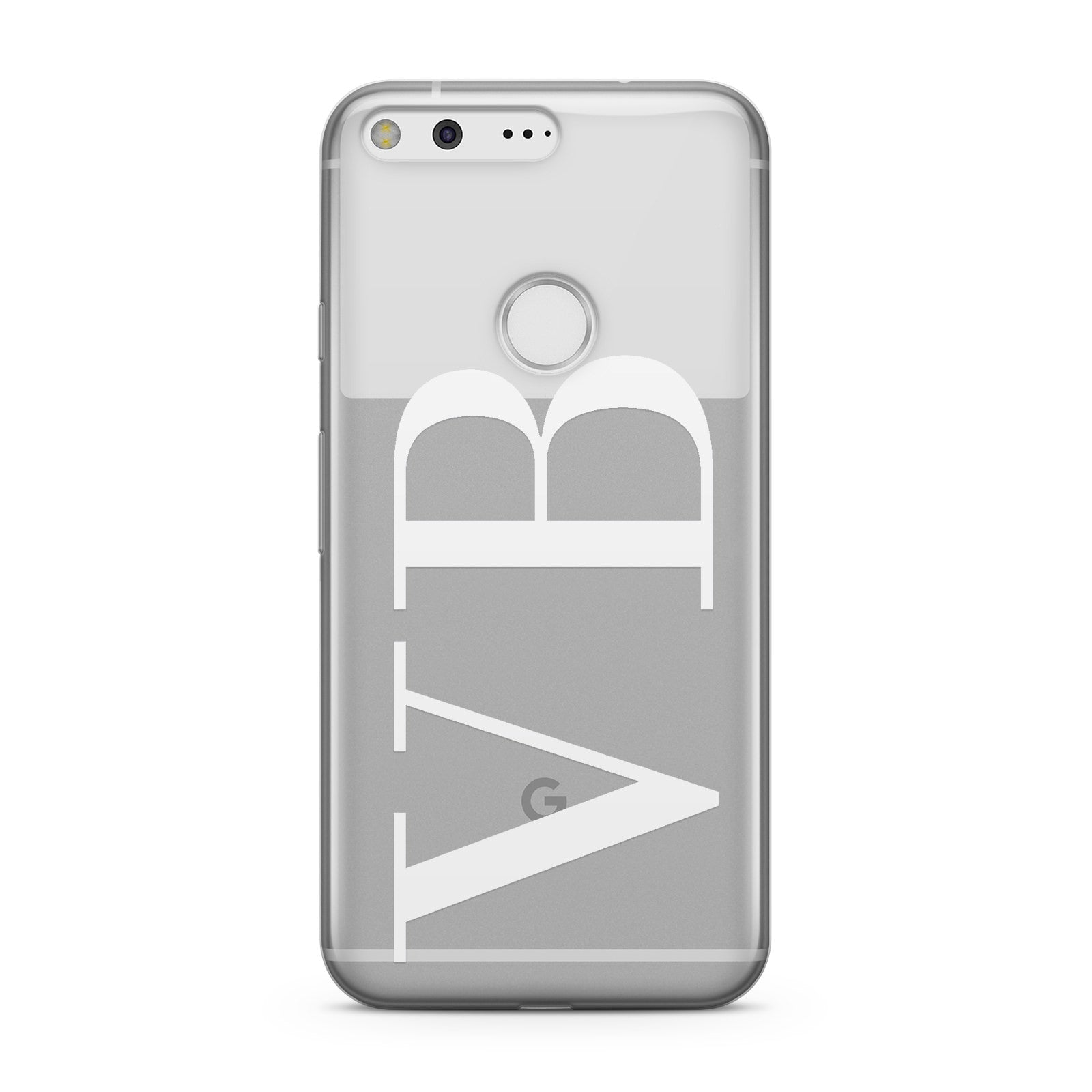 Personalised White Initials Customised Clear Google Case