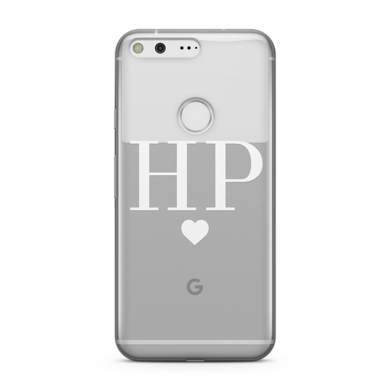 Personalised White Initials & Heart Clear Google Case