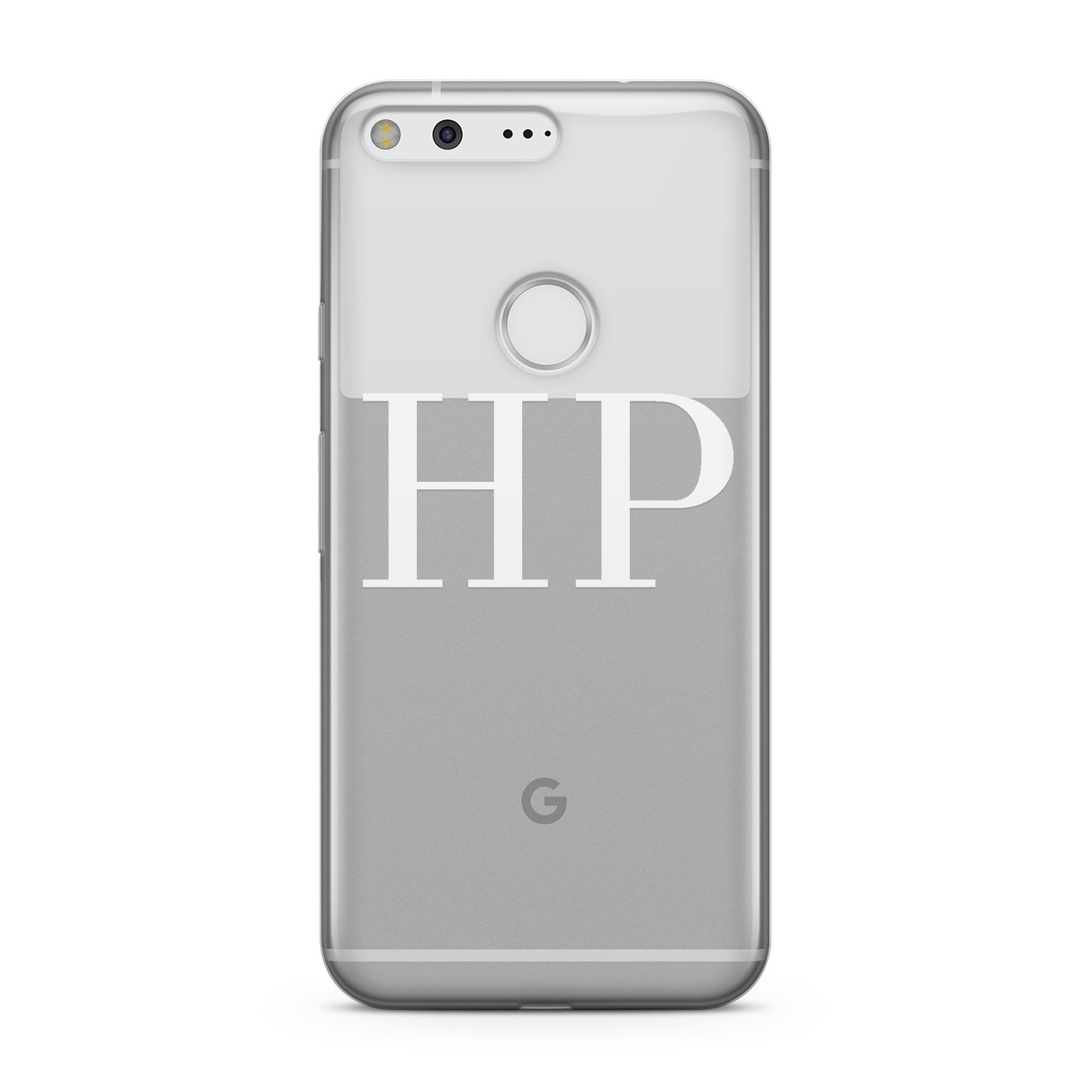 Personalised White Initials On Clear Google Case