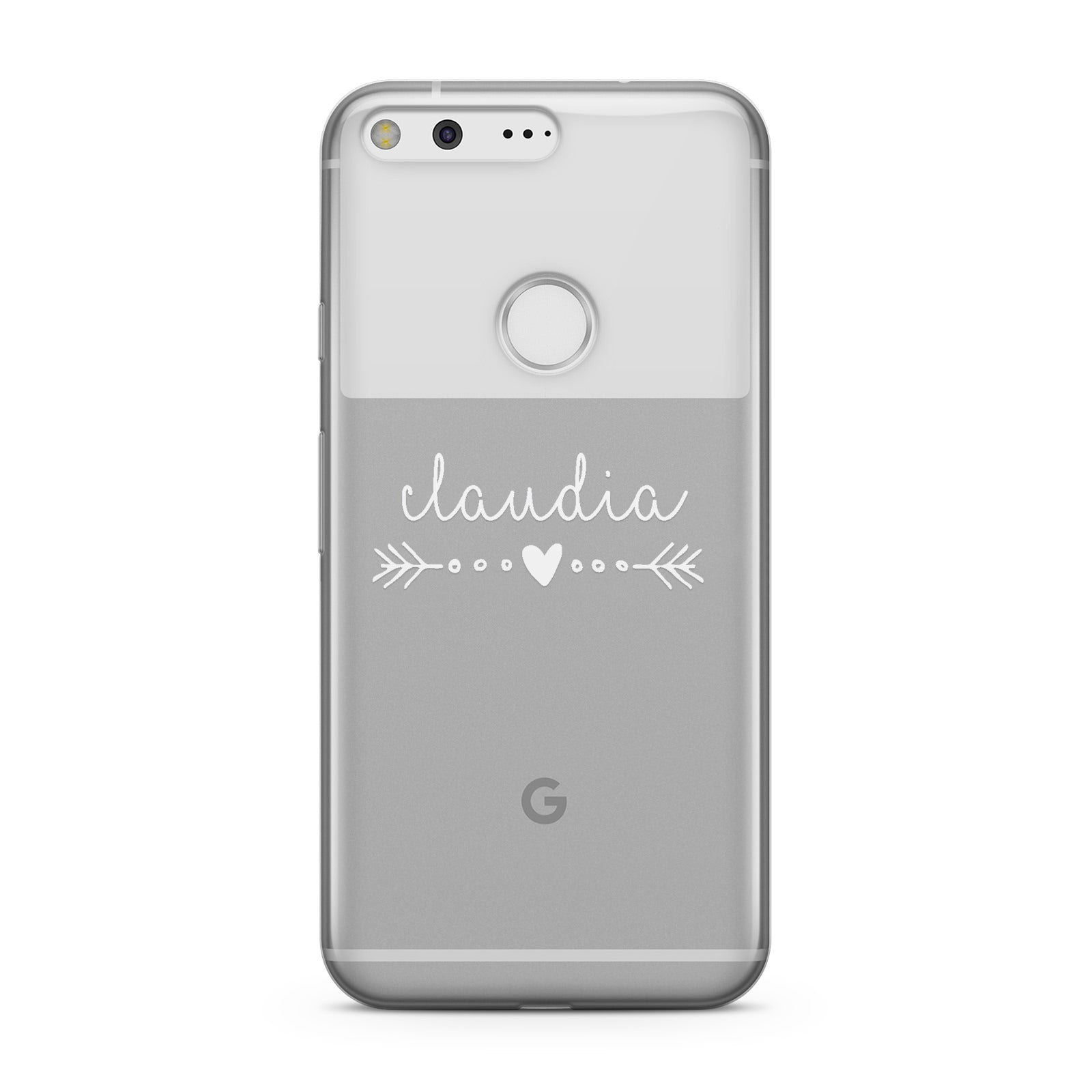 Personalised White Name Heart & Arrow Clear Google Case