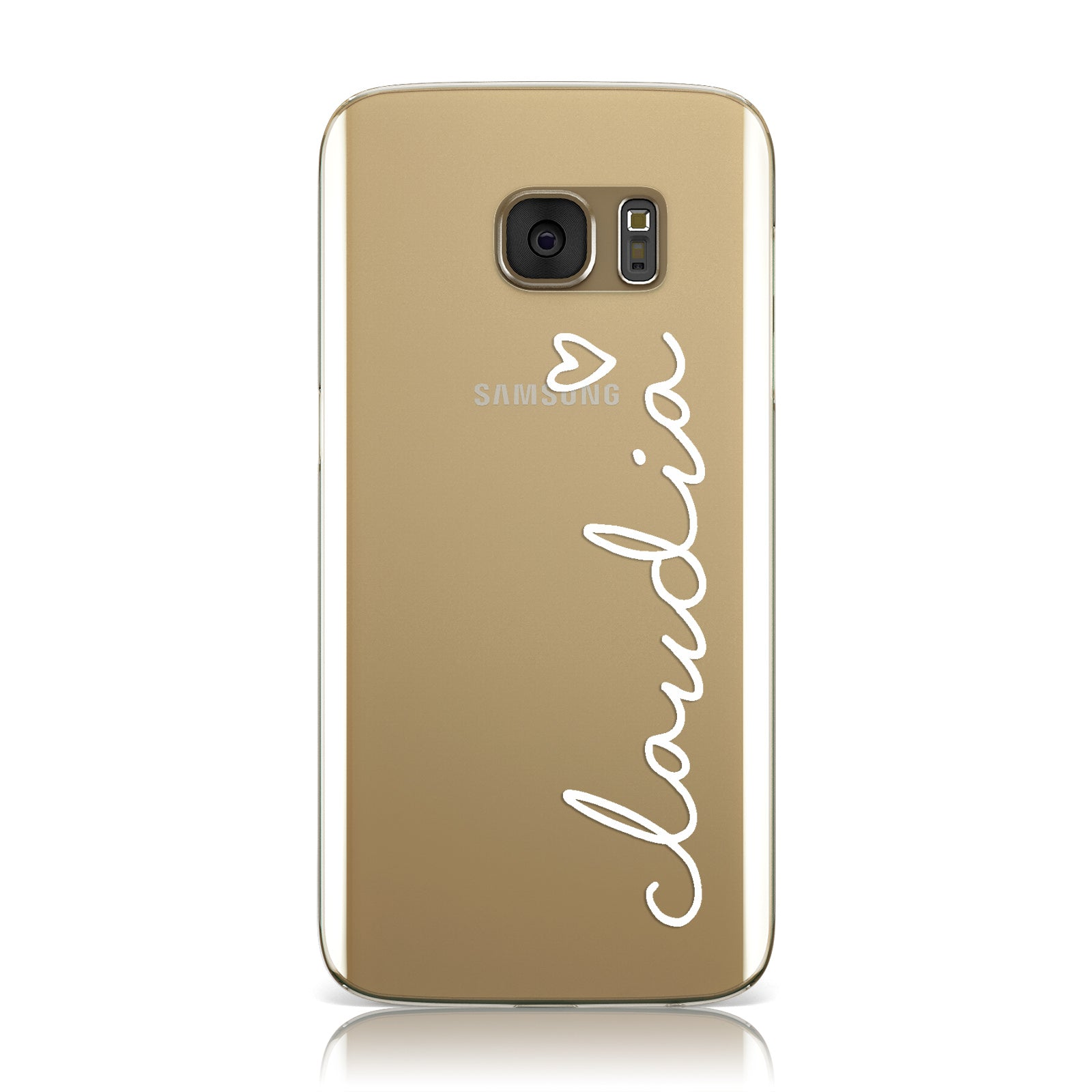 Personalised White Name & Heart Handwriting Samsung Galaxy Case