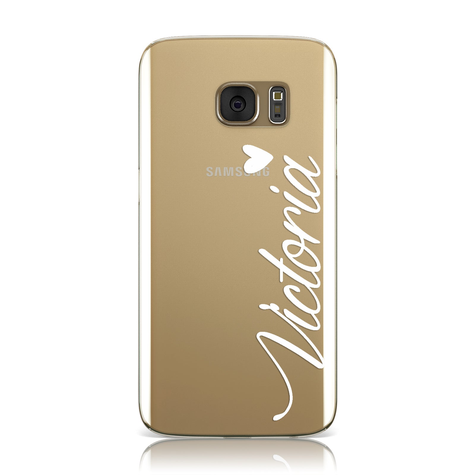 Personalised White Script Name & Heart Clear Samsung Galaxy Case