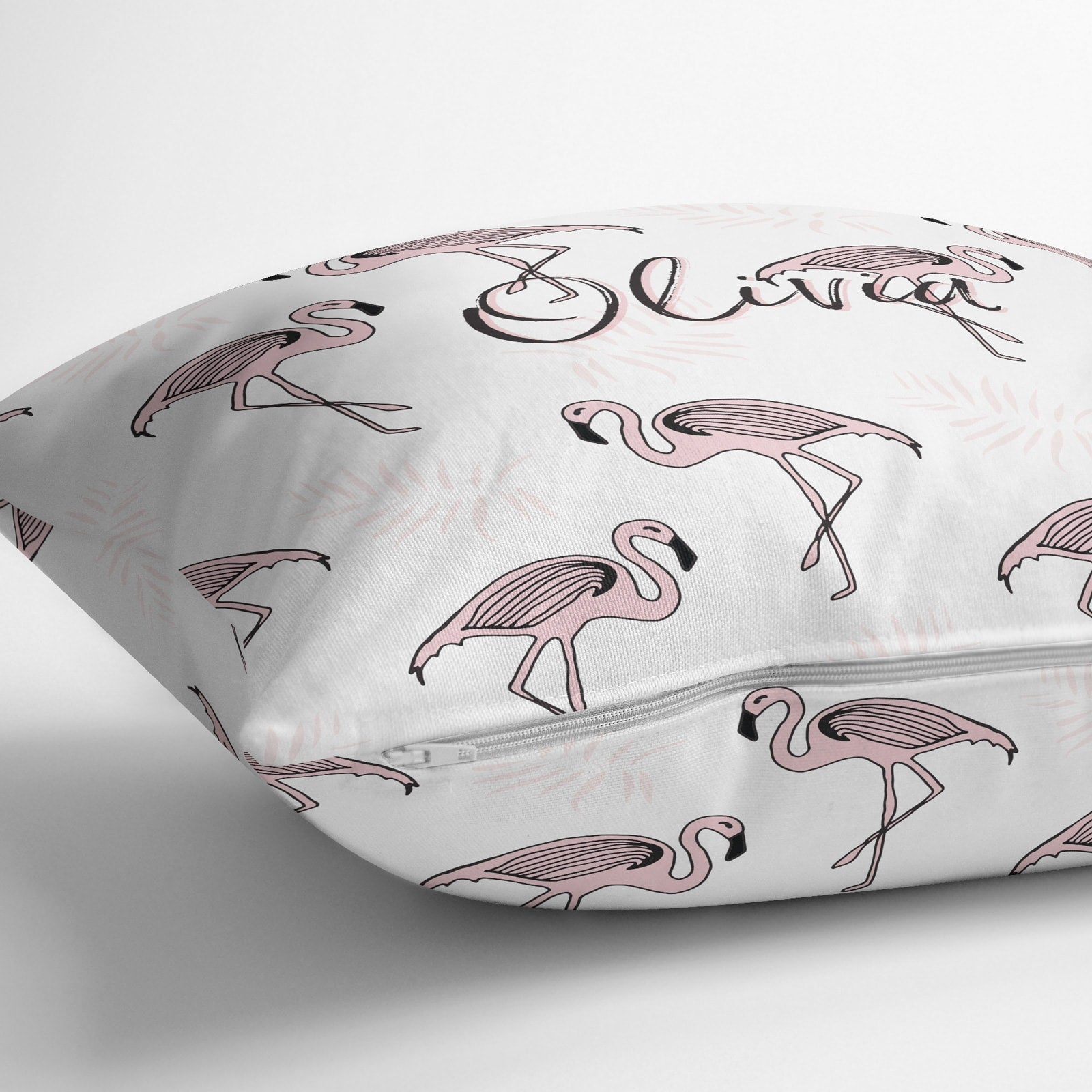Personalised White and Pink Flamingo Tropical Throw Pillow