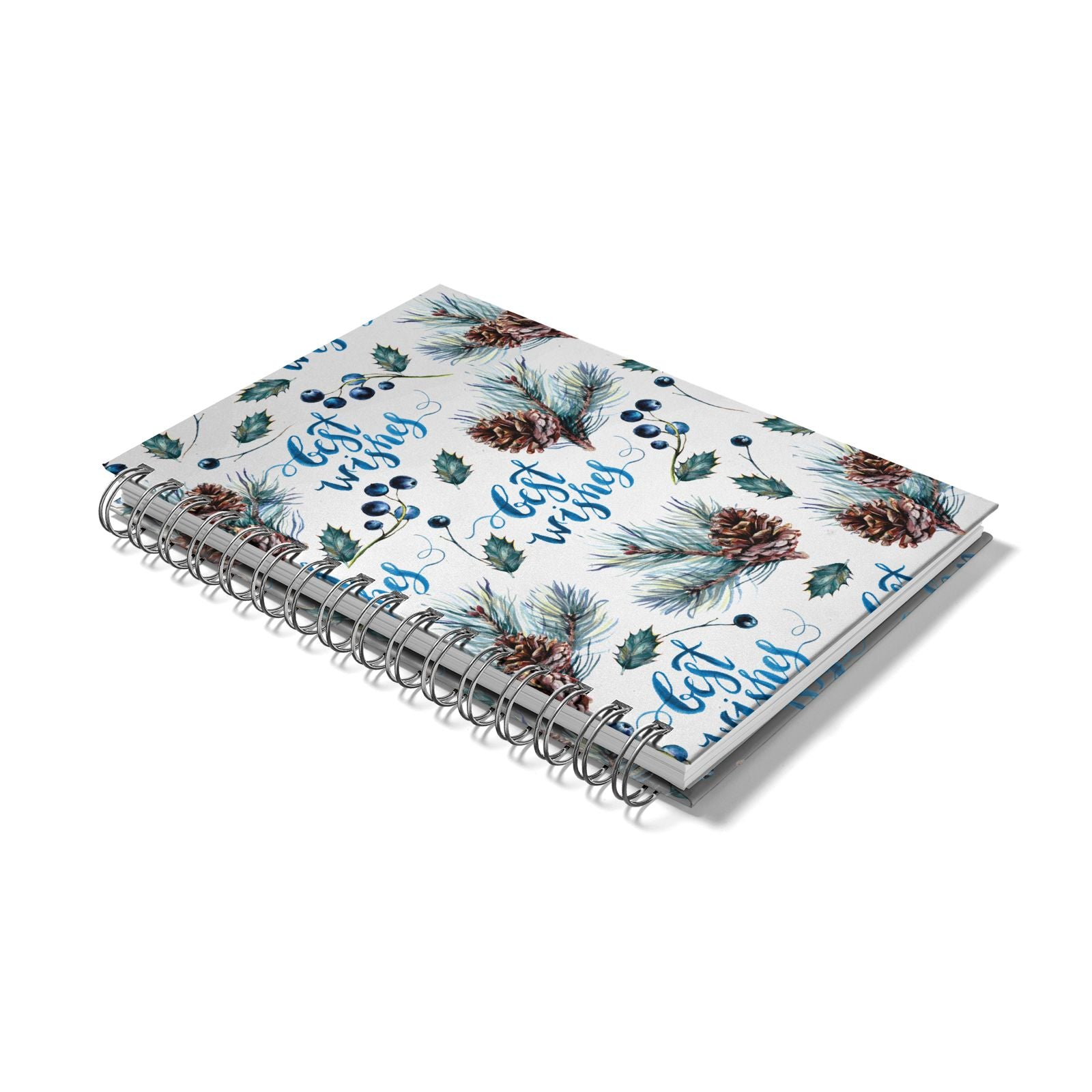 Pine cones wild berries Notebook with Silver Coil Laid Flat