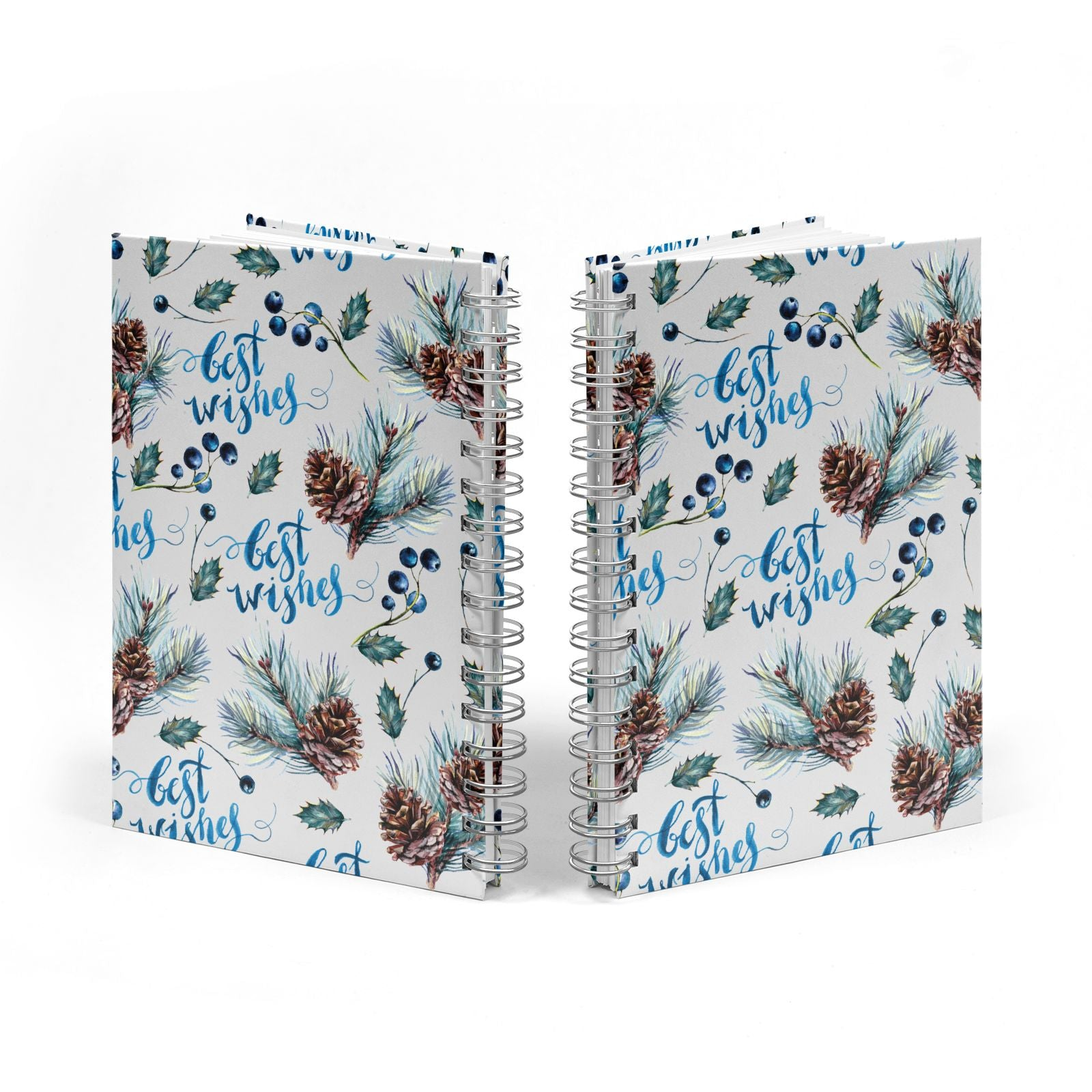 Pine cones wild berries Notebook with Silver Coil Spine View