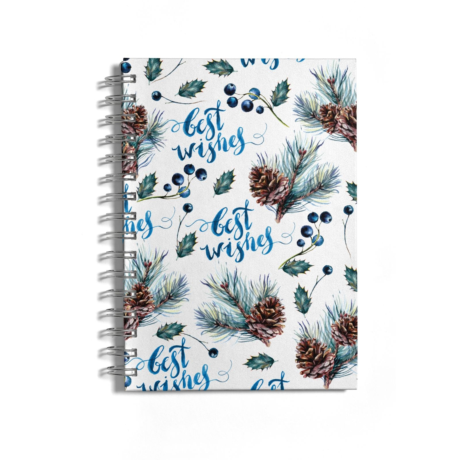 Pine cones wild berries Notebook with Silver Coil