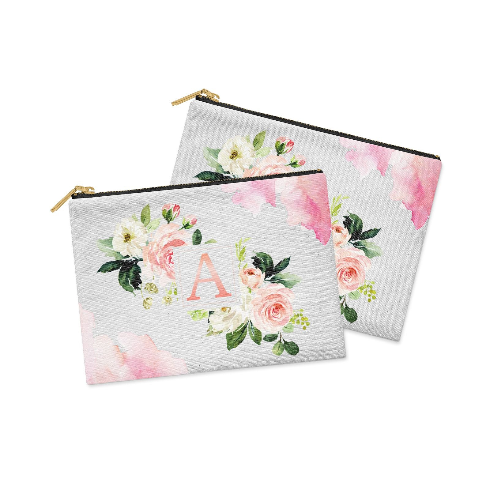 Pink Monogram Floral Roses Personalised Clutch Bag Zipper Pouch Alternative View