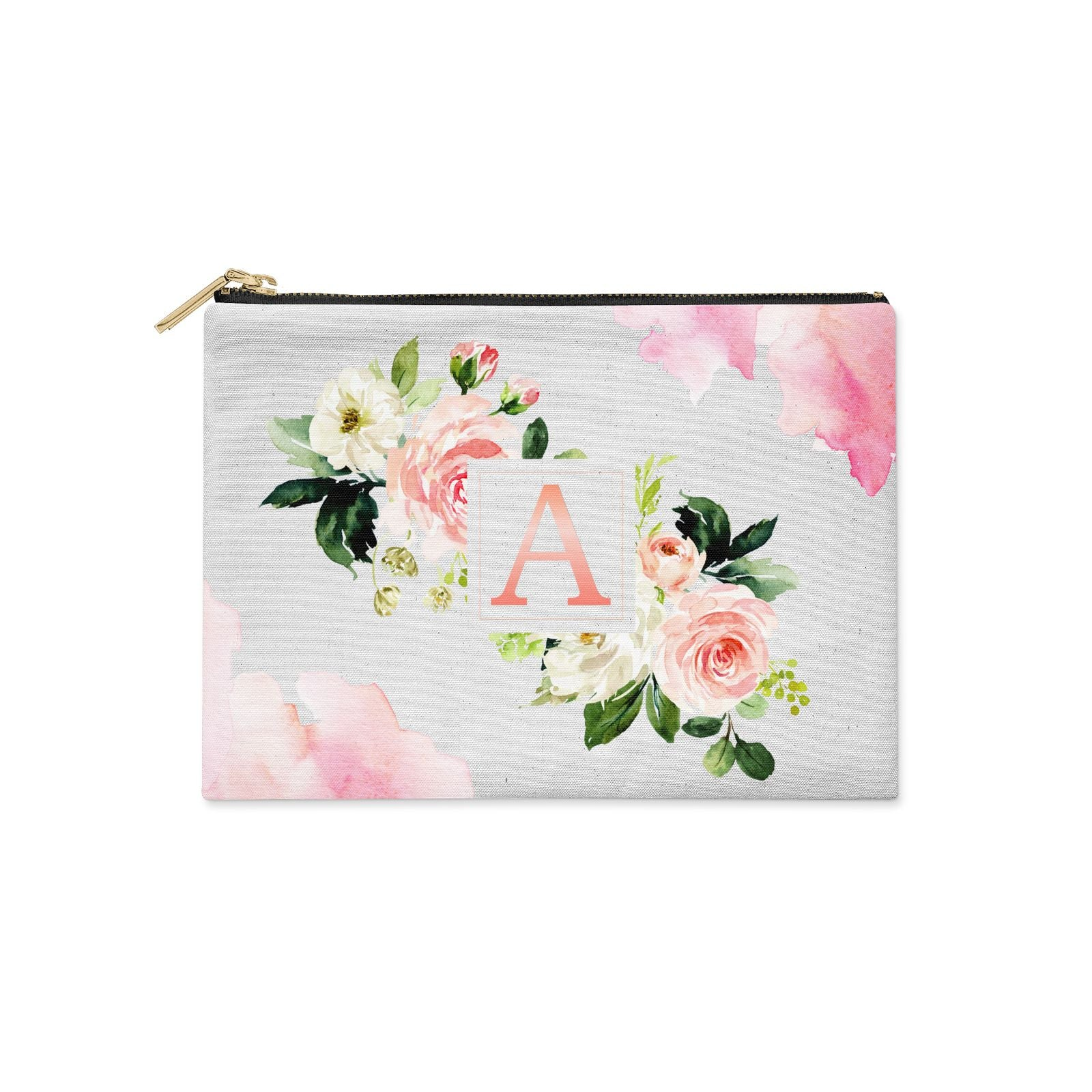 Pink Monogram Floral Roses Personalised Clutch Bag Zipper Pouch