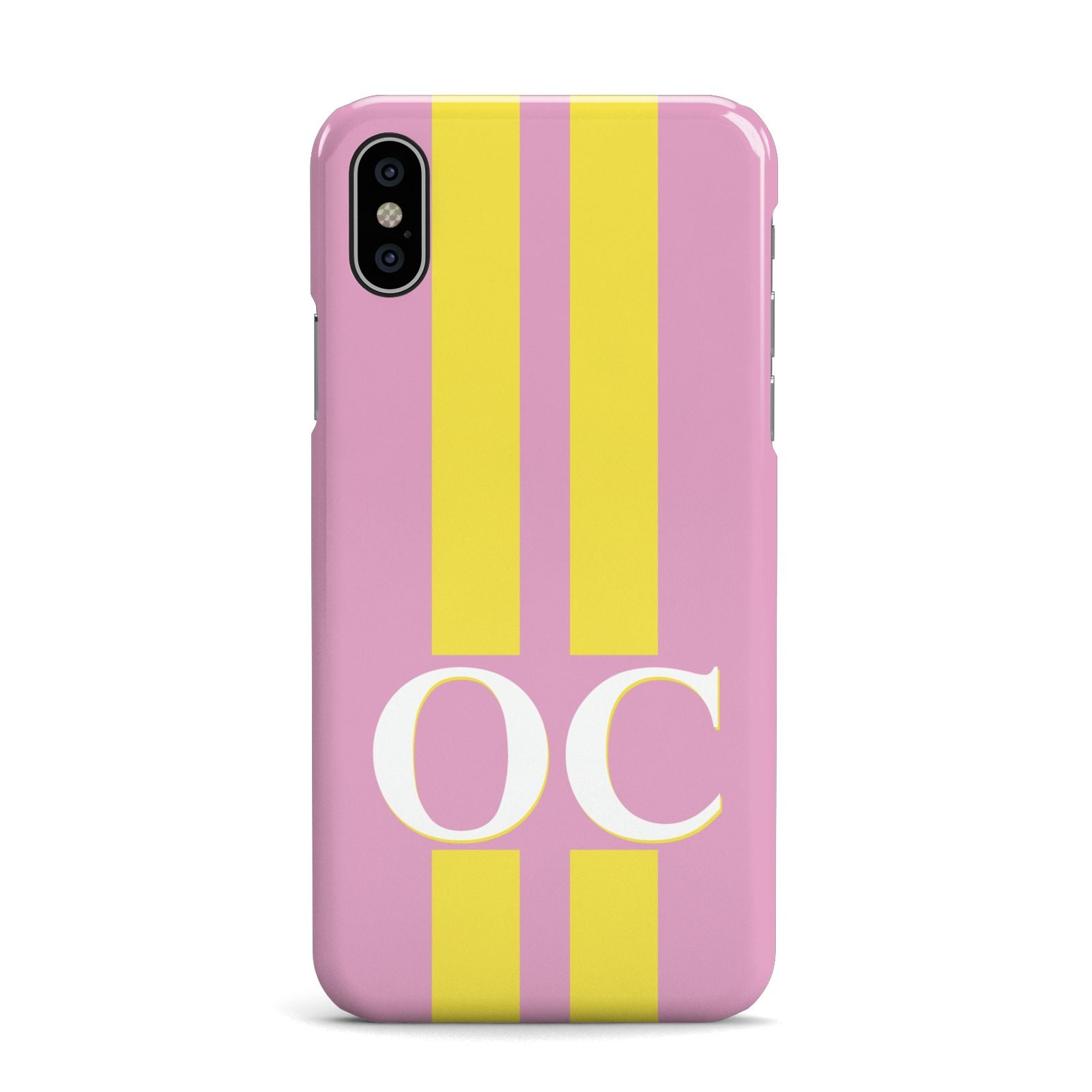 Pink Personalised Initials Apple iPhone X Case