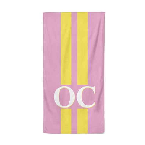 Pink Personalised Initials Beach Towel