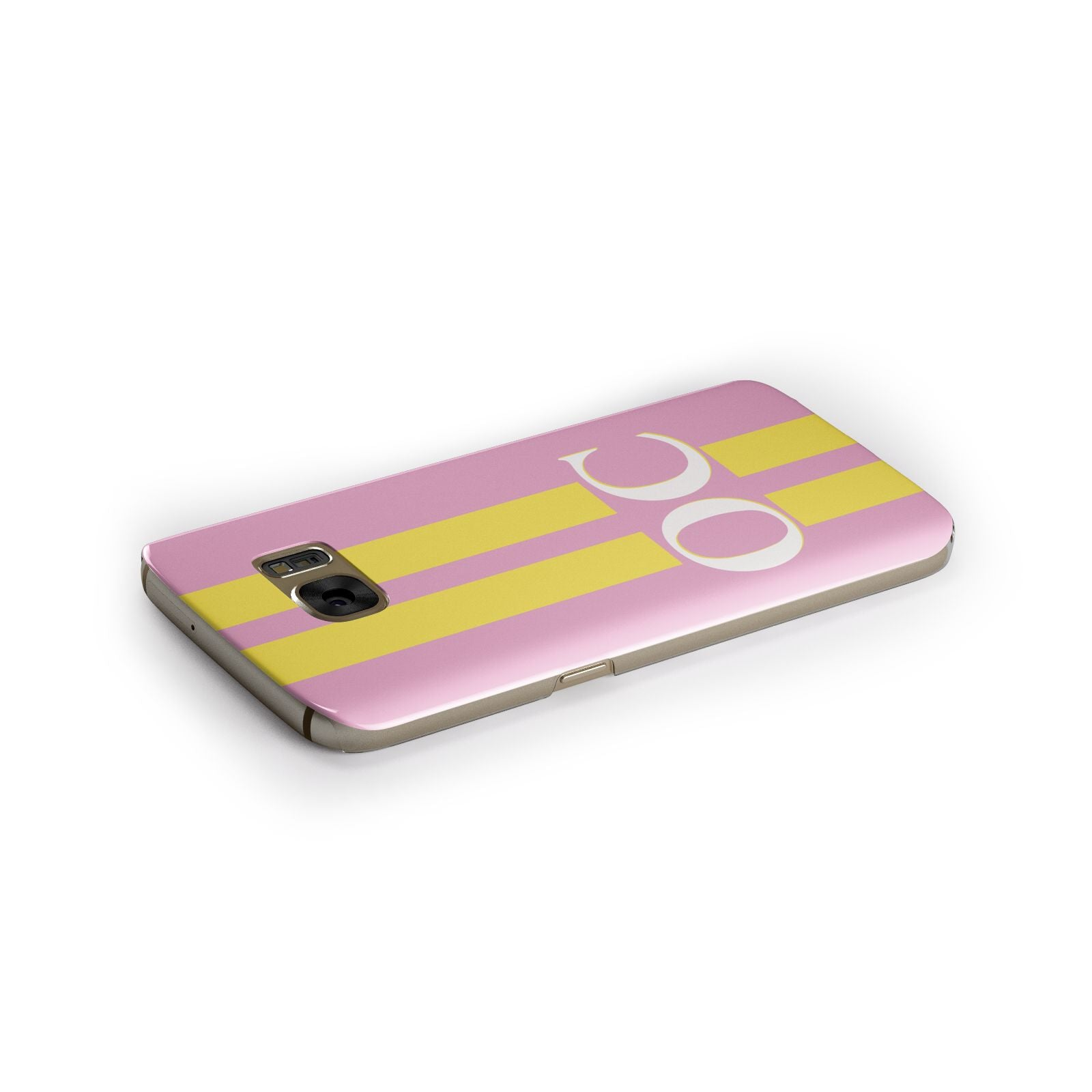 Pink Personalised Initials Samsung Galaxy Case Side Close Up