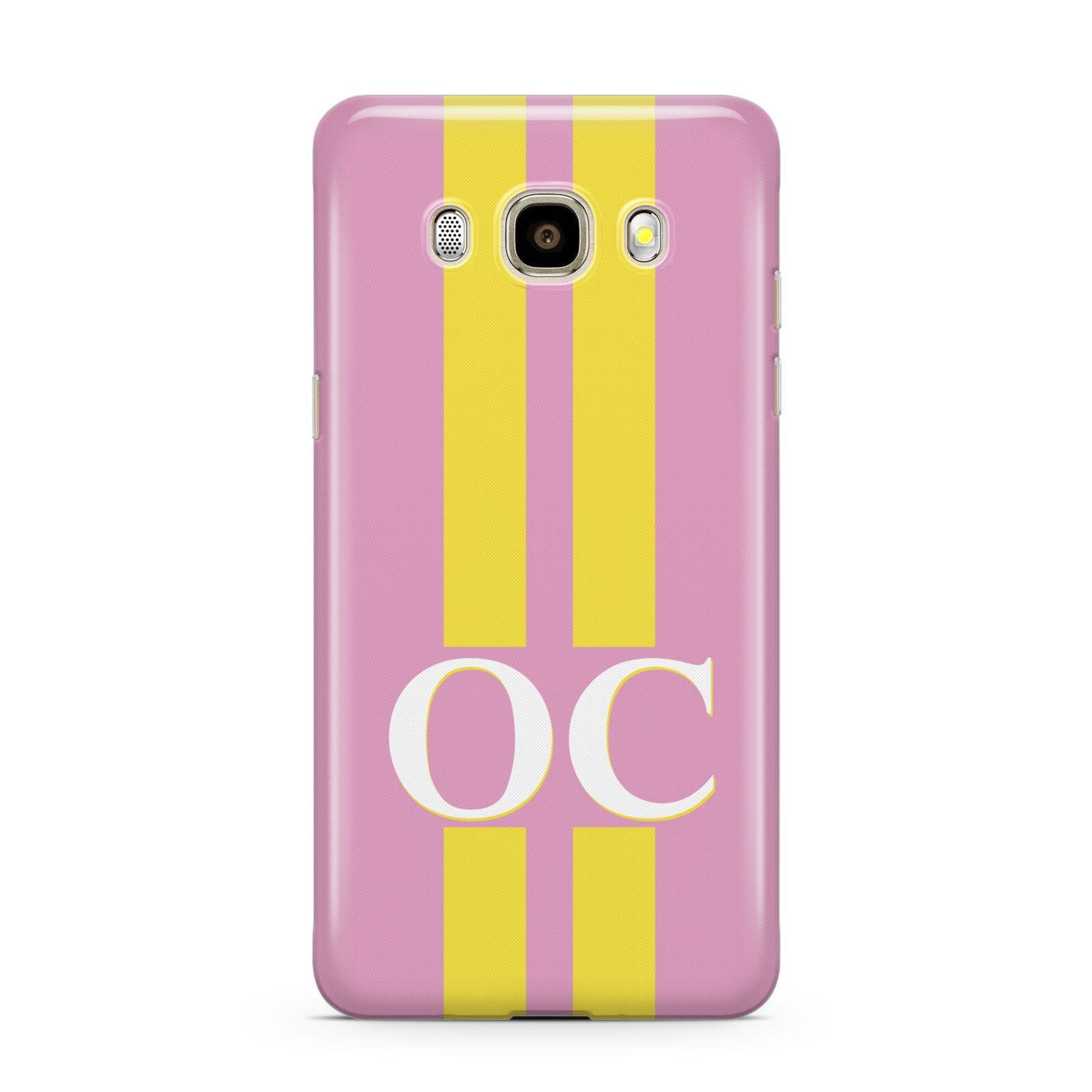 Pink Personalised Initials Samsung Galaxy J7 2016 Case on gold phone