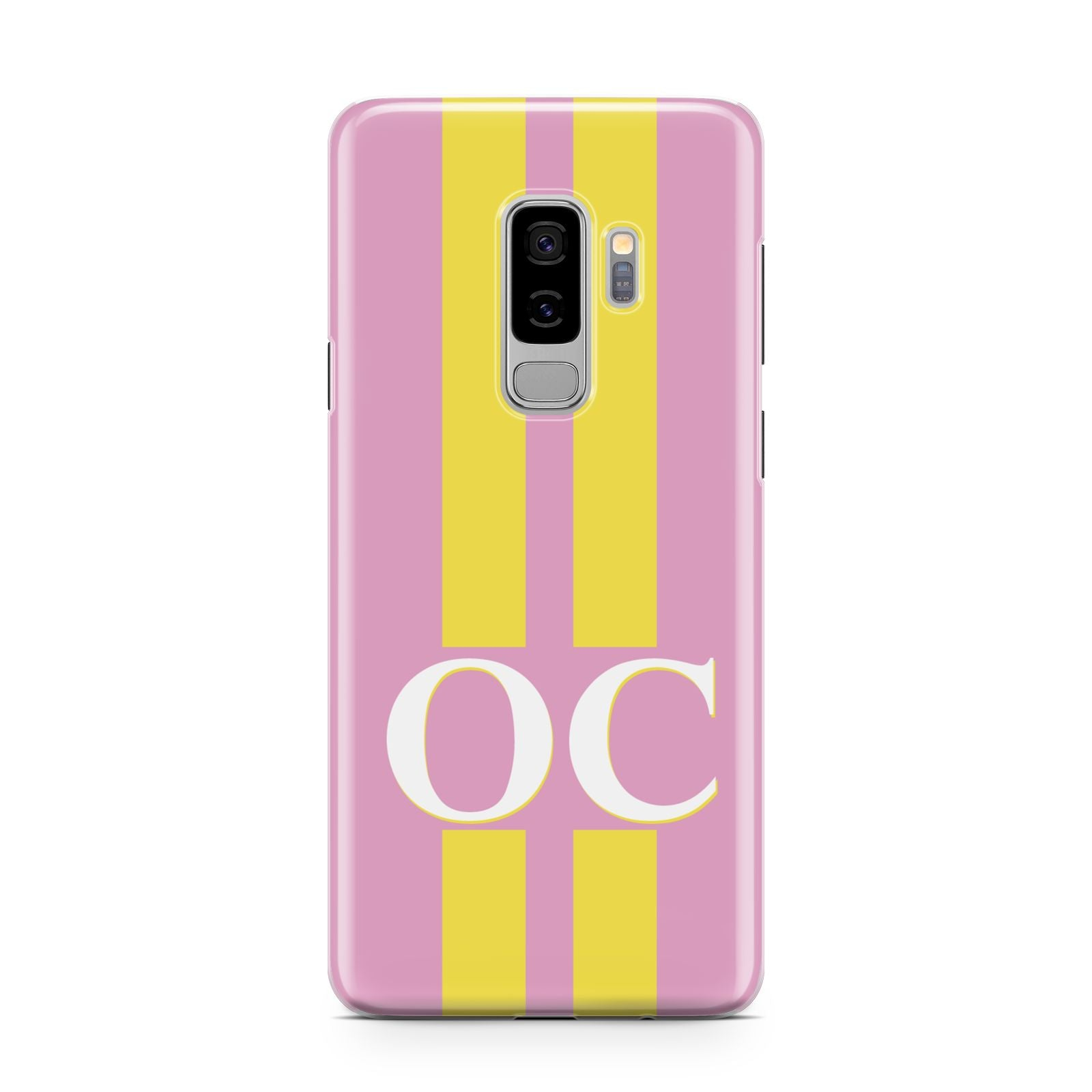 Pink Personalised Initials Samsung Galaxy S9 Plus Case on Silver phone