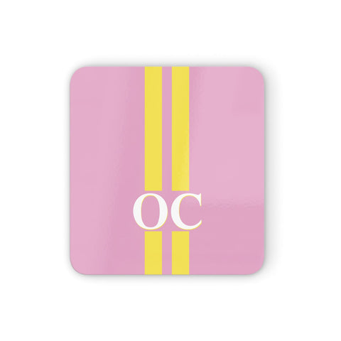 Pink Personalised Initials Coasters set of 4