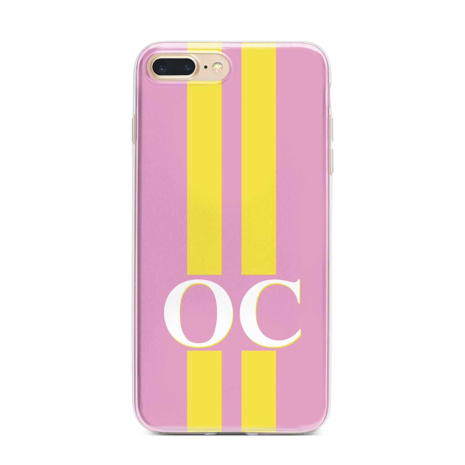 Pink Personalised Initials iPhone 7 Plus Bumper Case on Gold iPhone