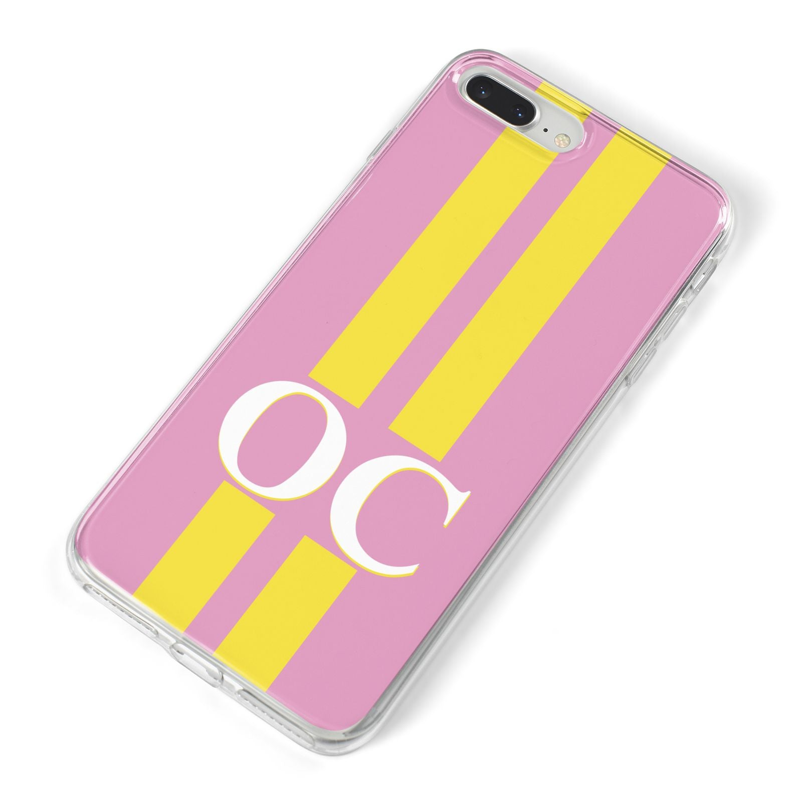 Pink Personalised Initials iPhone 8 Plus Bumper Case on Silver iPhone Alternative Image