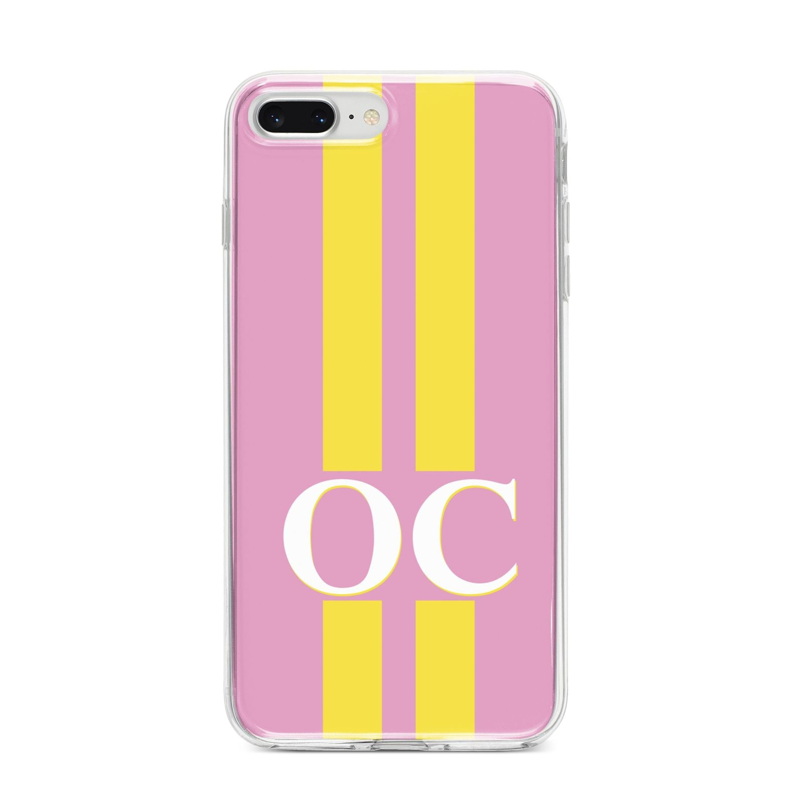 Pink Personalised Initials iPhone 8 Plus Bumper Case on Silver iPhone