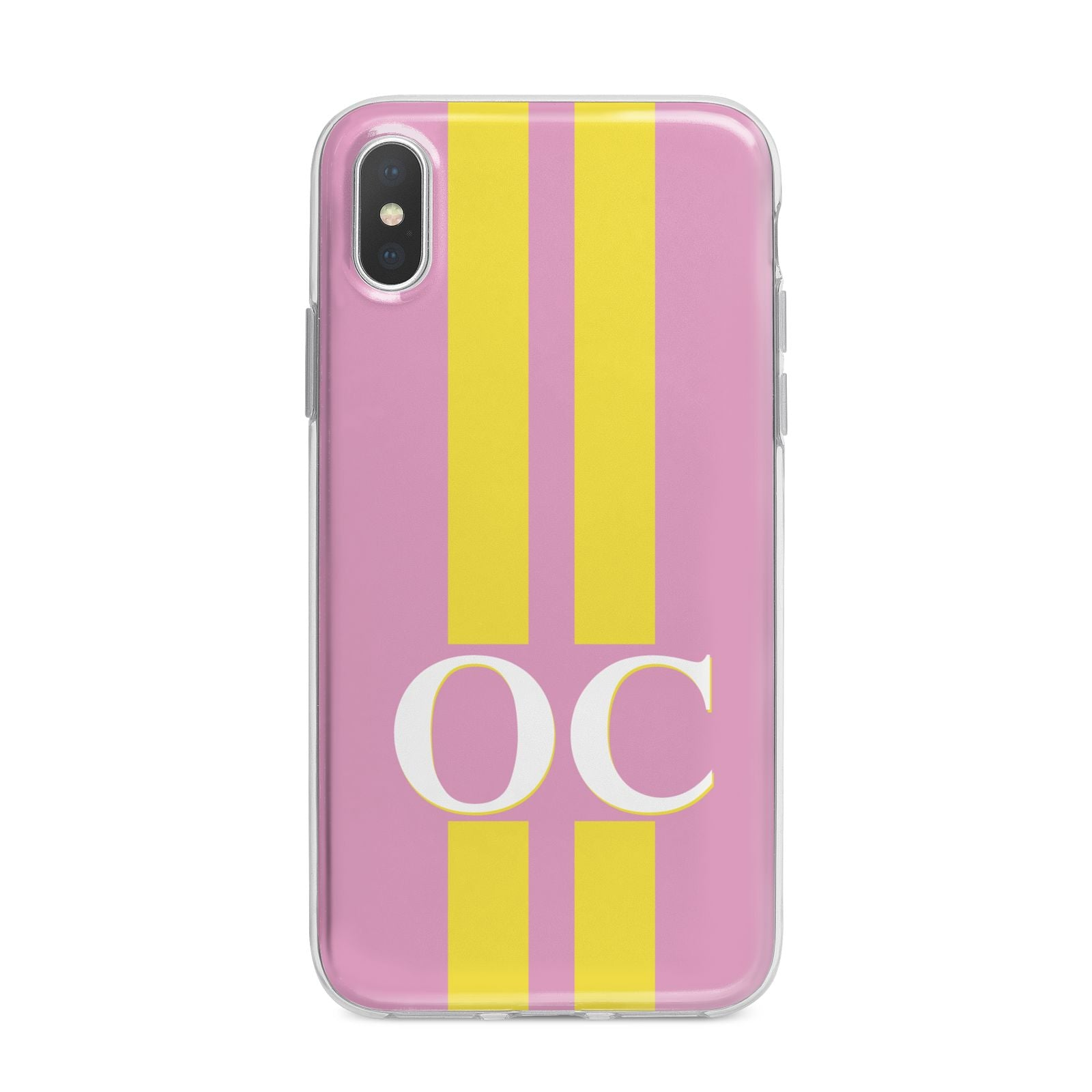 Pink Personalised Initials iPhone X Bumper Case on Silver iPhone Alternative Image 1