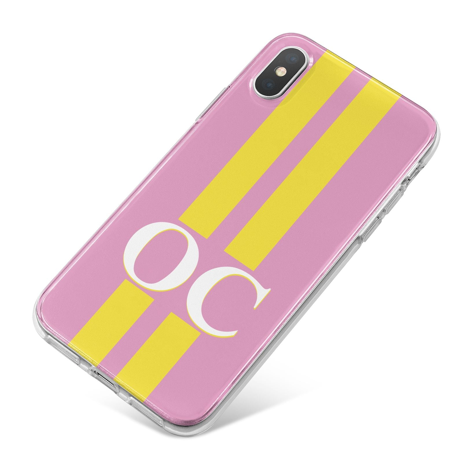 Pink Personalised Initials iPhone X Bumper Case on Silver iPhone