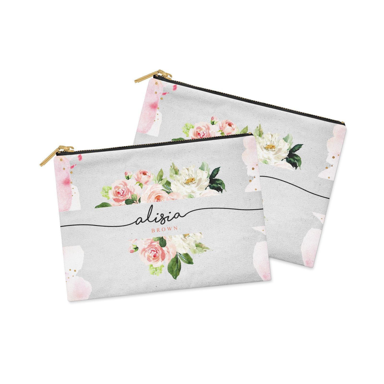 Pretty Roses Personalised Name Clutch Bag Zipper Pouch Alternative View