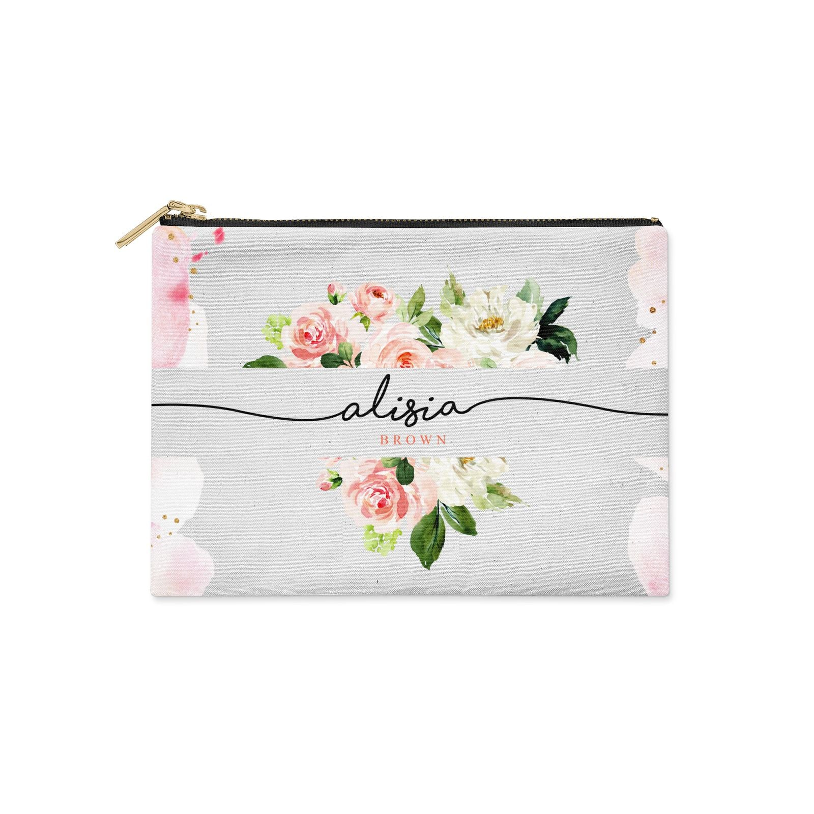 Pretty Roses Personalised Name Clutch Bag Zipper Pouch