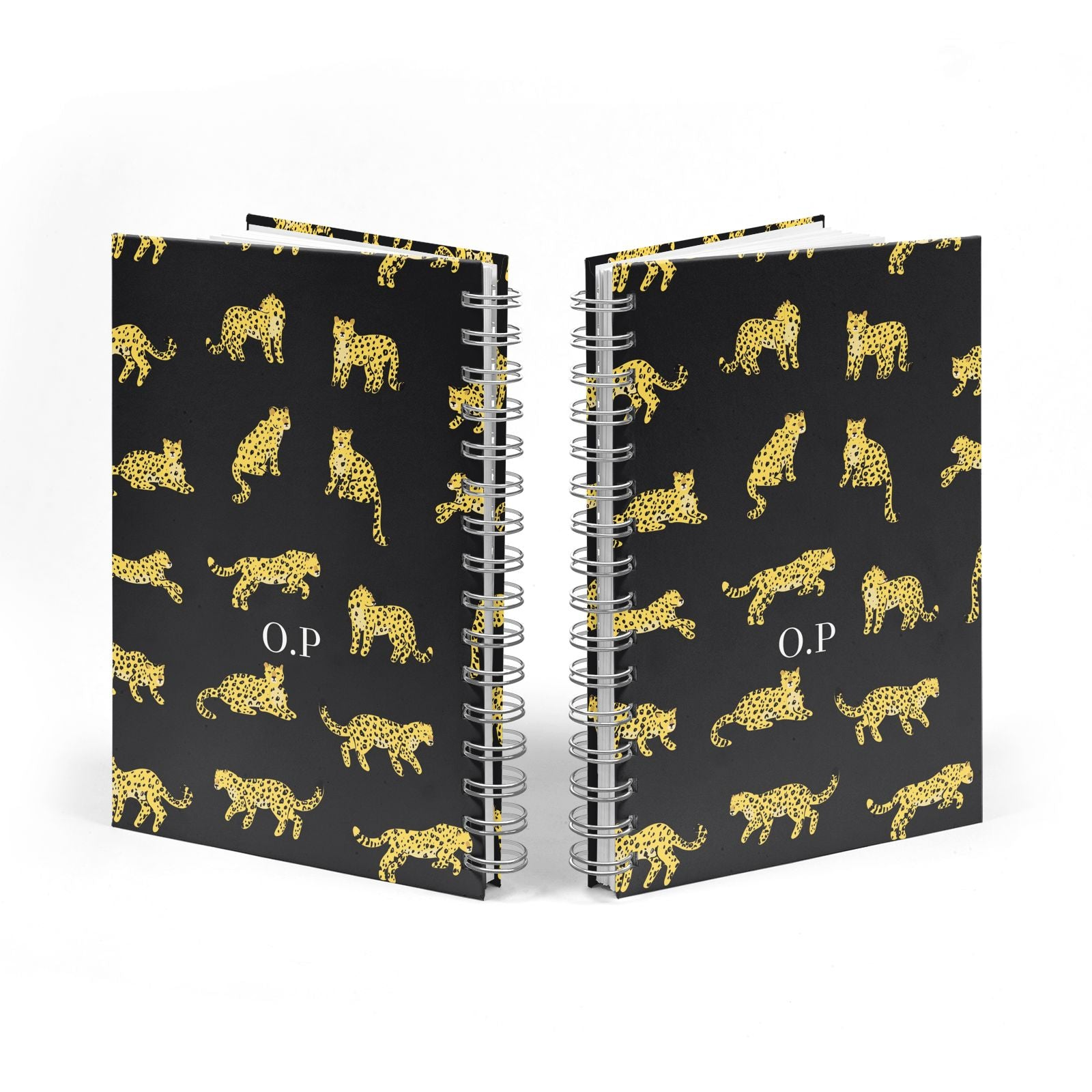 Prowling Leopard Notebook with Silver Coil Spine View