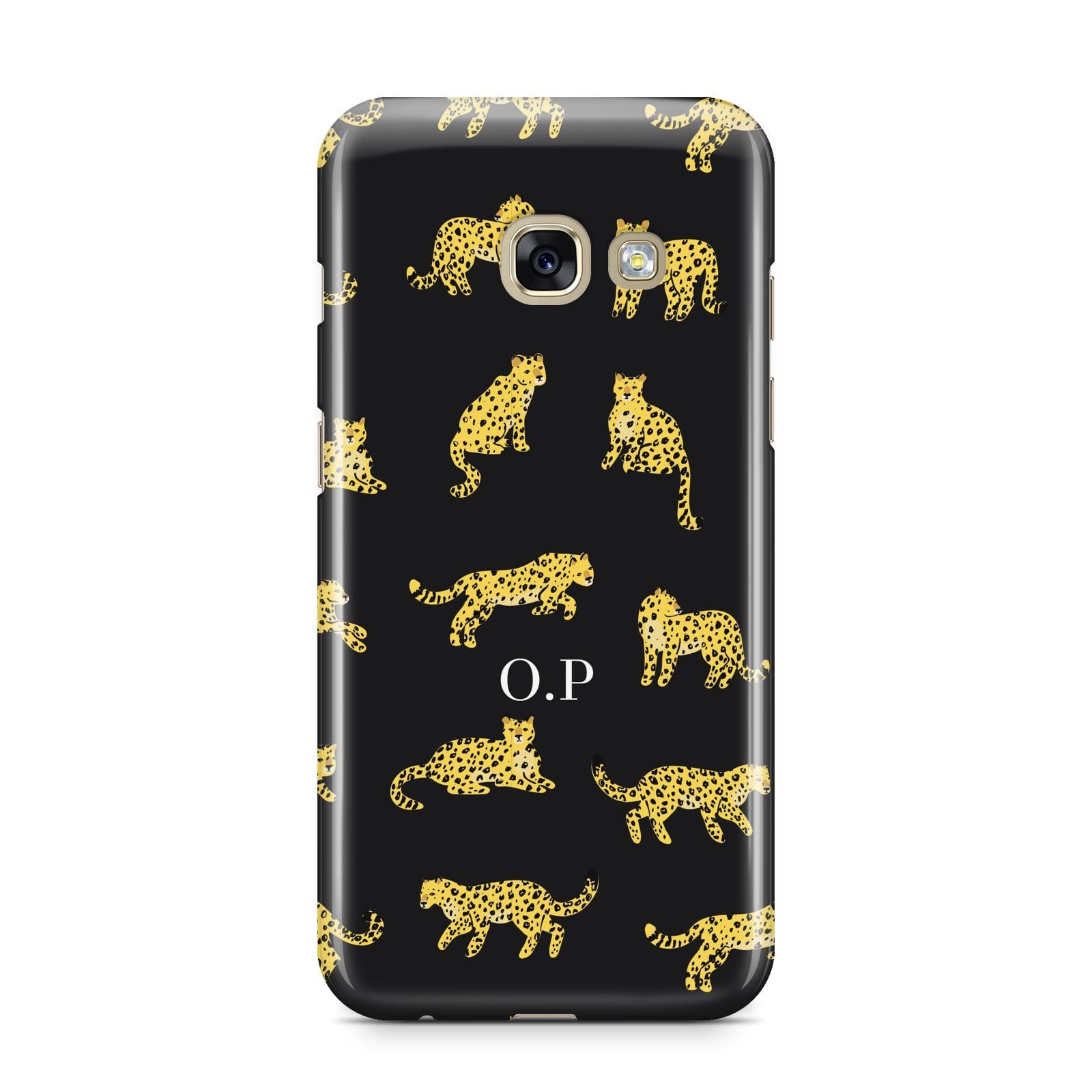 Prowling Leopard Samsung Galaxy A3 2017 Case on gold phone