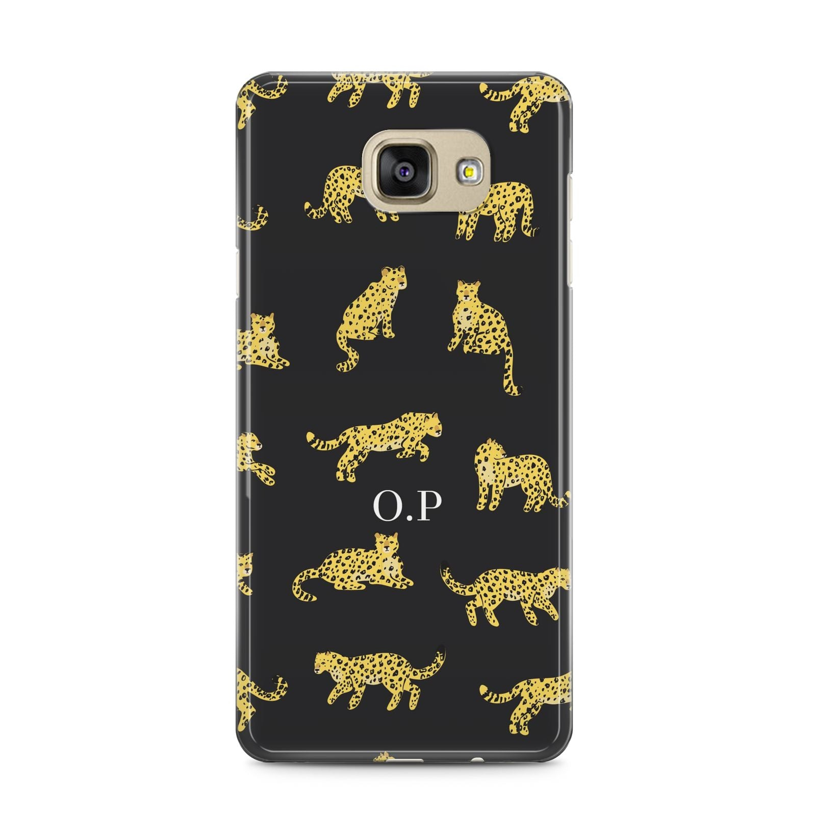 Prowling Leopard Samsung Galaxy A5 2016 Case on gold phone