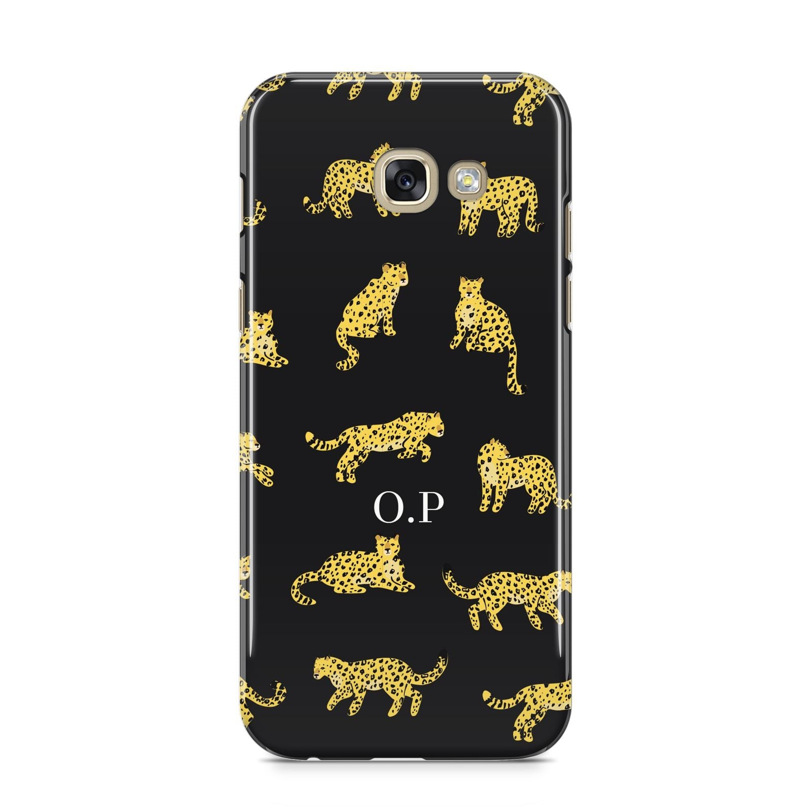 Prowling Leopard Samsung Galaxy A5 2017 Case on gold phone