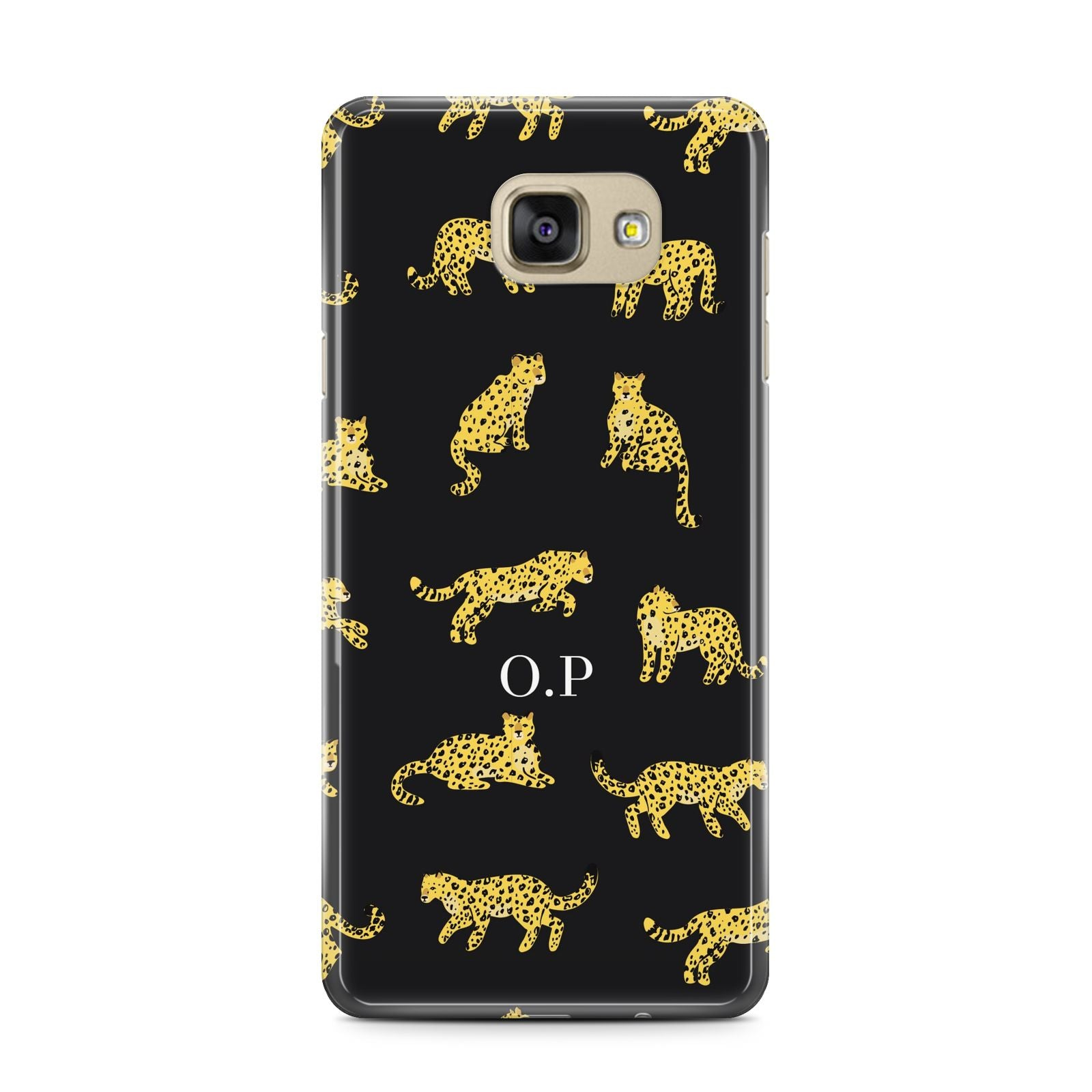 Prowling Leopard Samsung Galaxy A7 2016 Case on gold phone