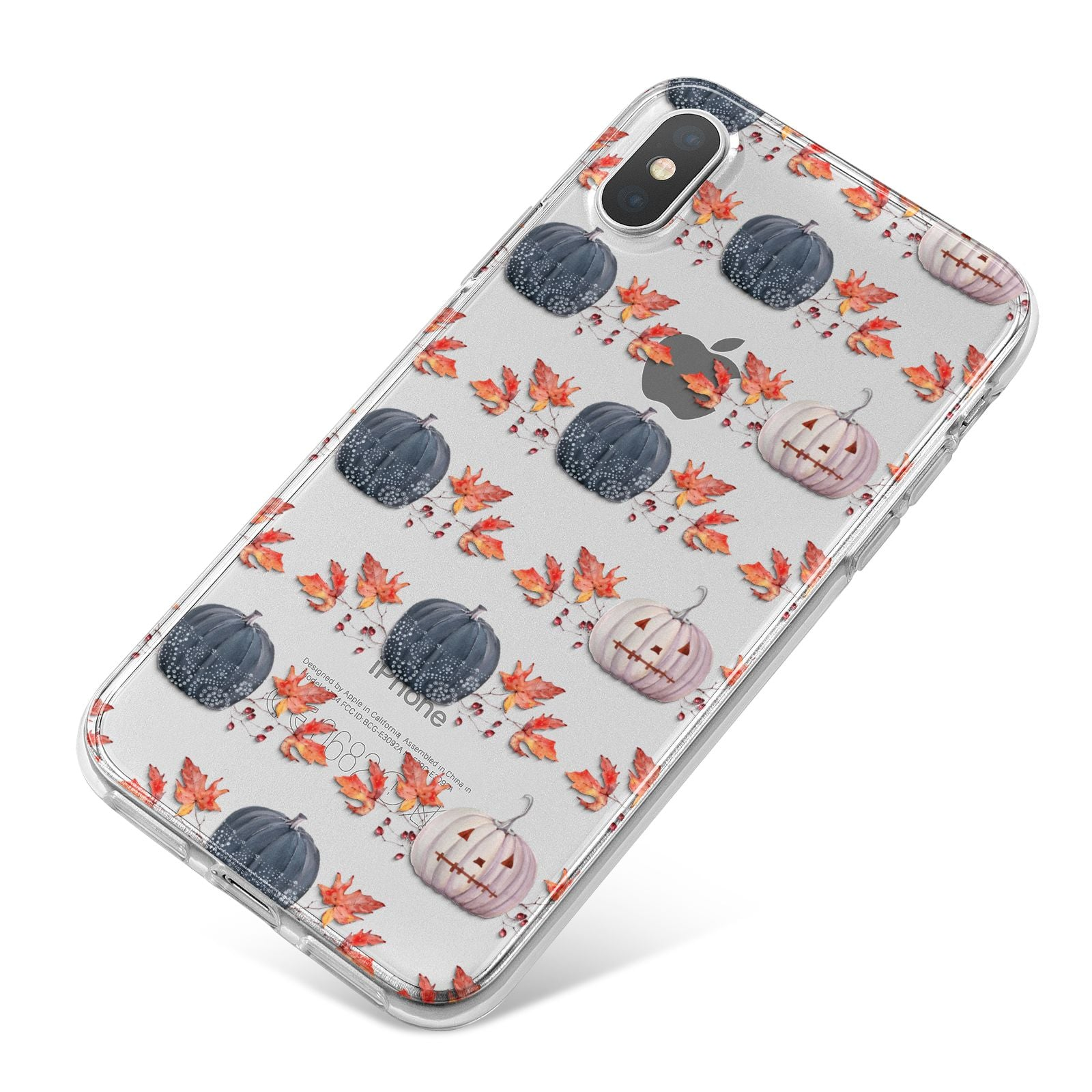 Pumpkin Autumn Leaves iPhone X Bumper Case on Silver iPhone