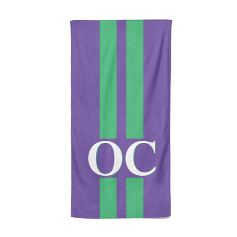Purple Personalised Initials Beach Towel