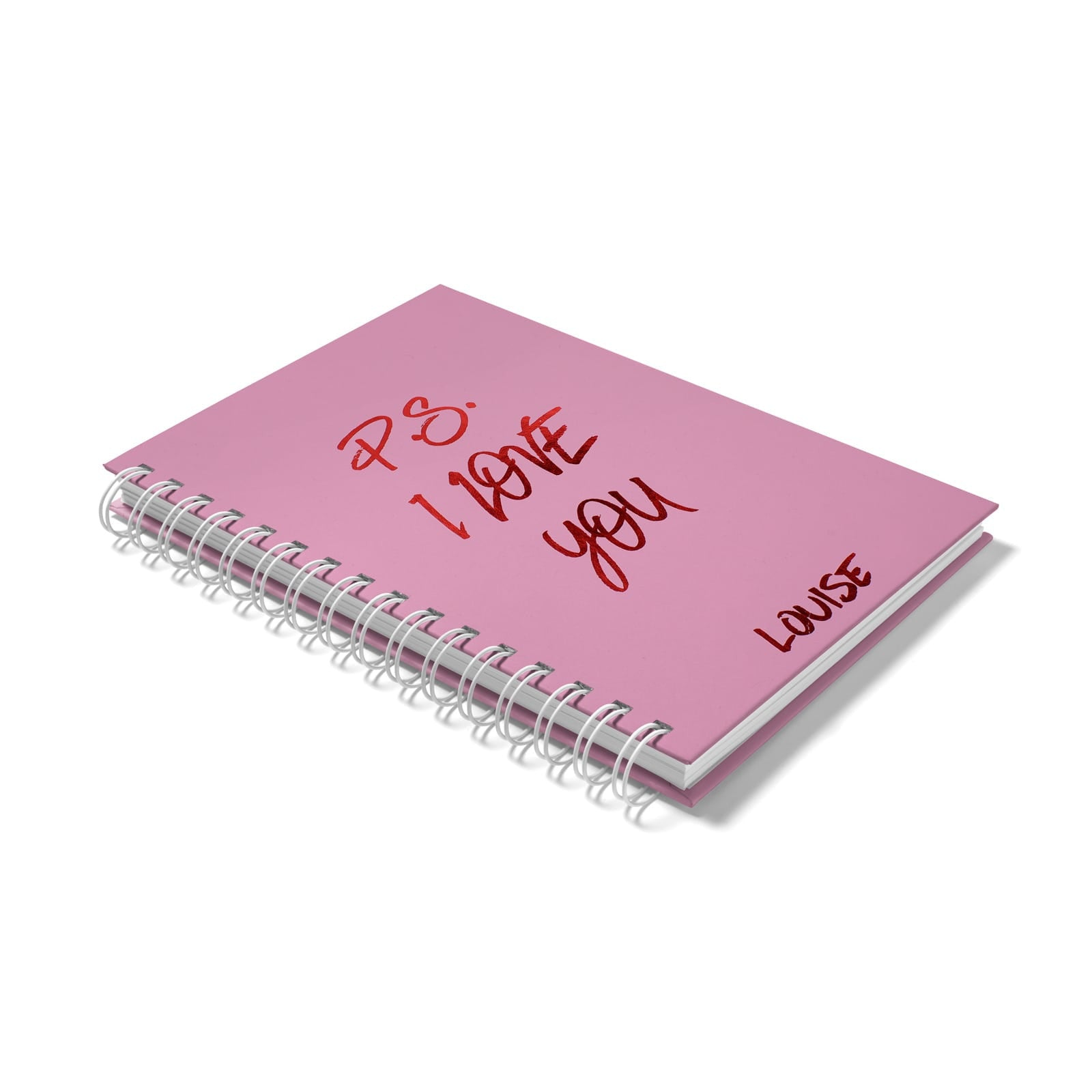 Personalised Red Foil I Love You Notebook Side View