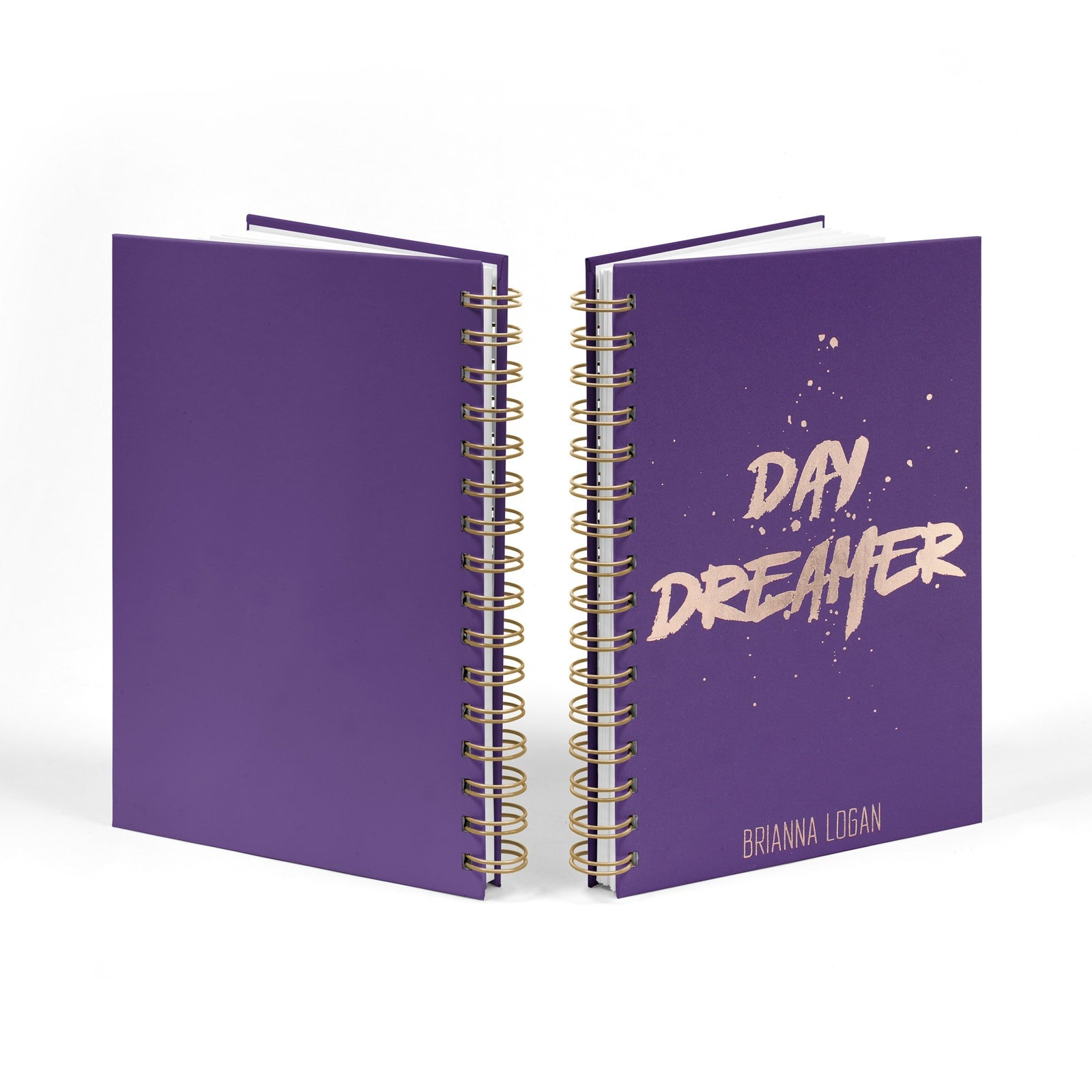 Personalised Rose Gold Foil Day Dreamer Notebook Front & Back