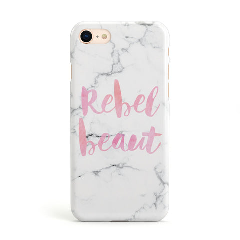 Rebel Heart Grey Marble Effect Apple iPhone Case