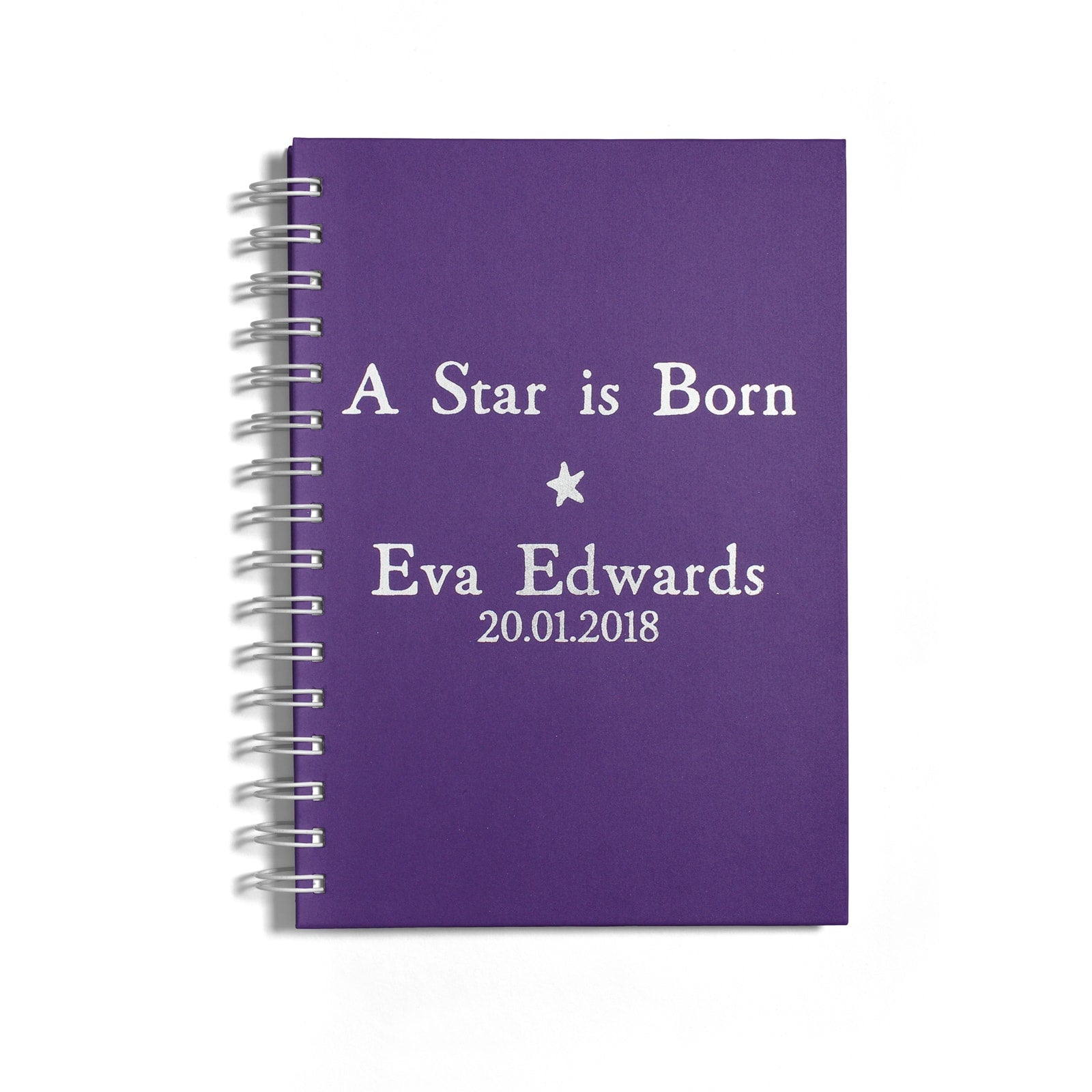 Personalised Silver Foil A Star is Born Notebook Front