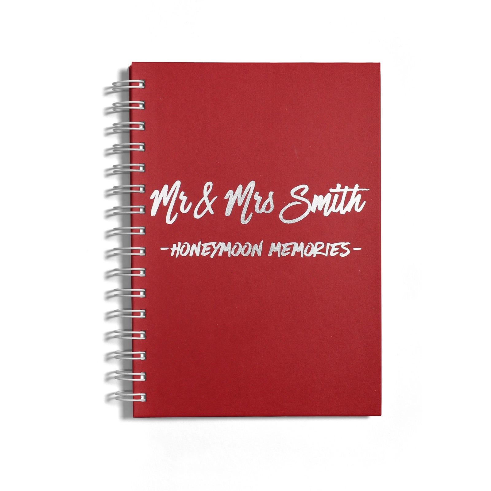 Personalised Silver Foil Honeymoon Notebook Front