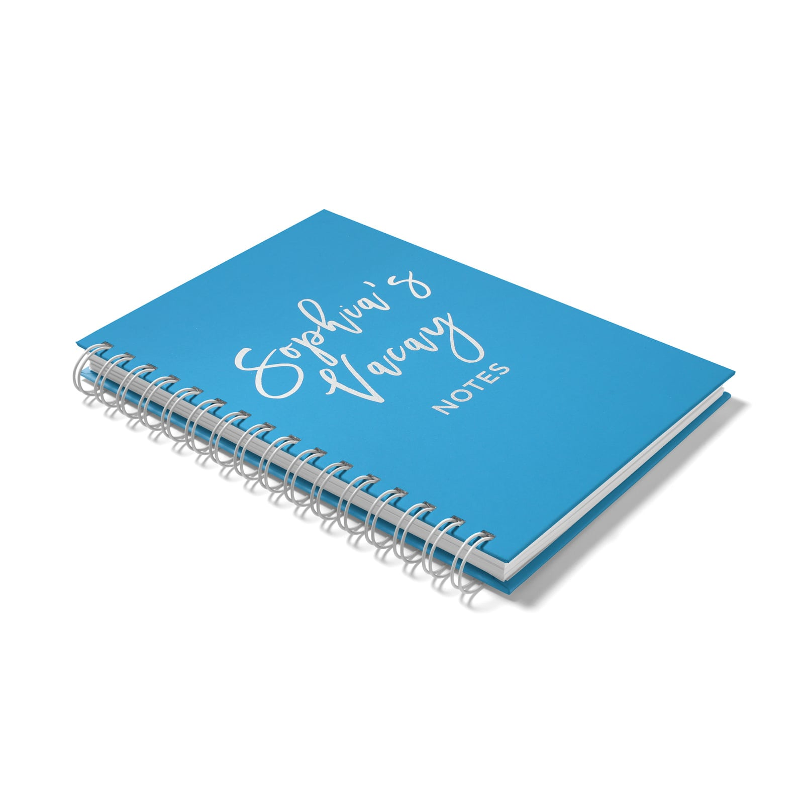 Personalised Silver Foil Vacay Notebook Side View