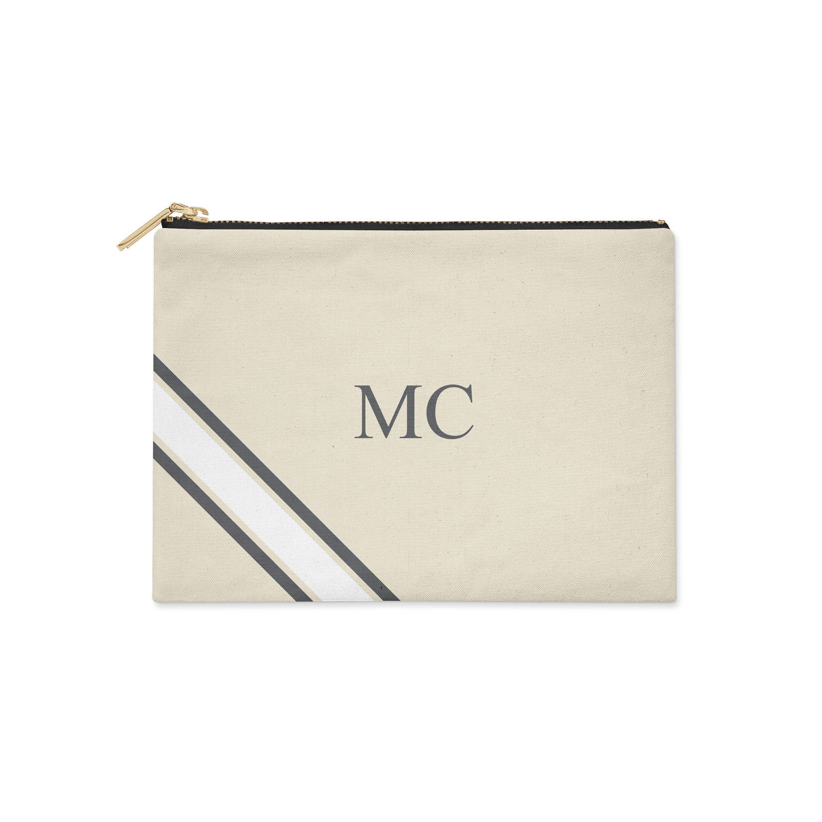 Monogram Diagonal White & Grey Canvas Clutch