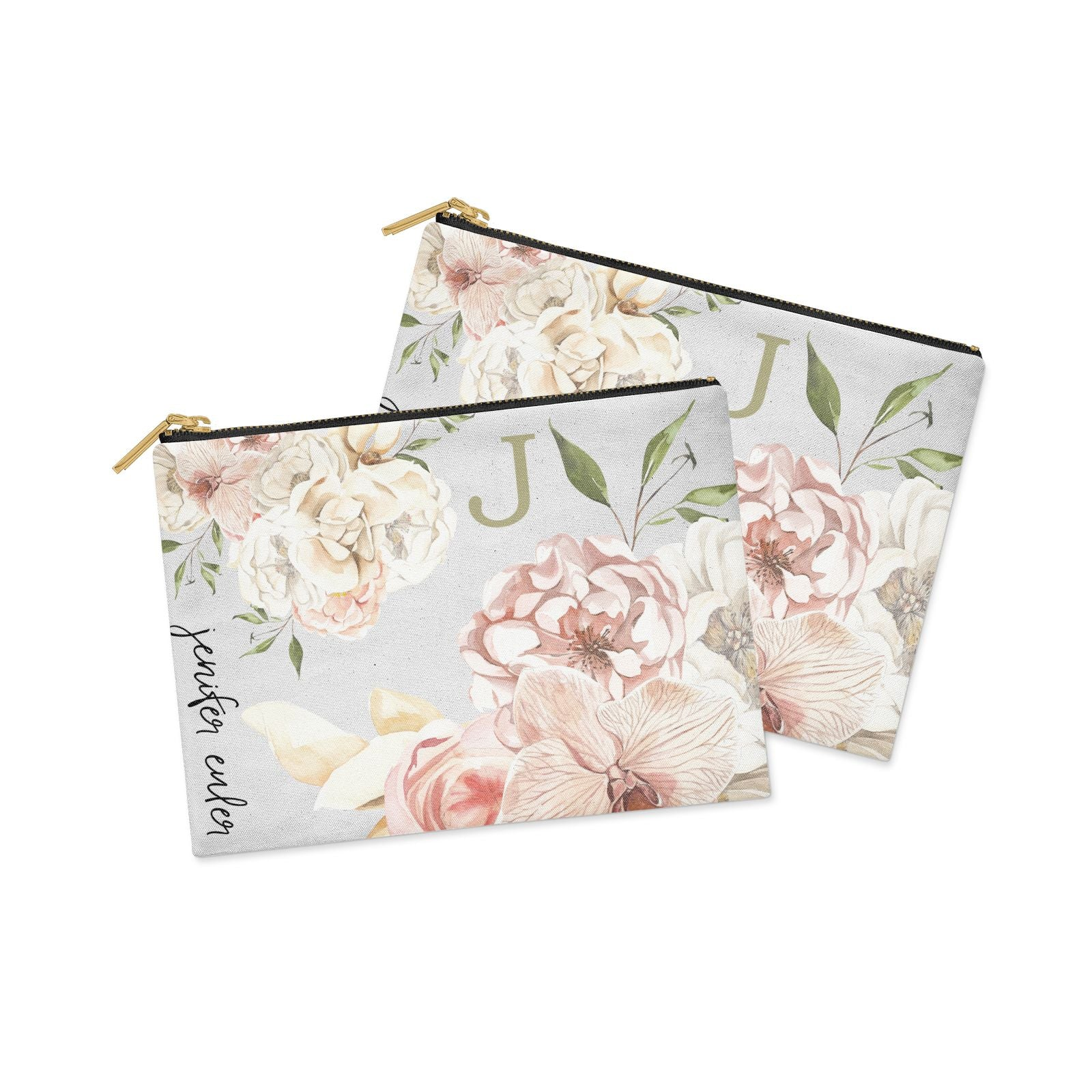 Spring Flowers Personalised Name Clutch Bag Zipper Pouch Alternative View