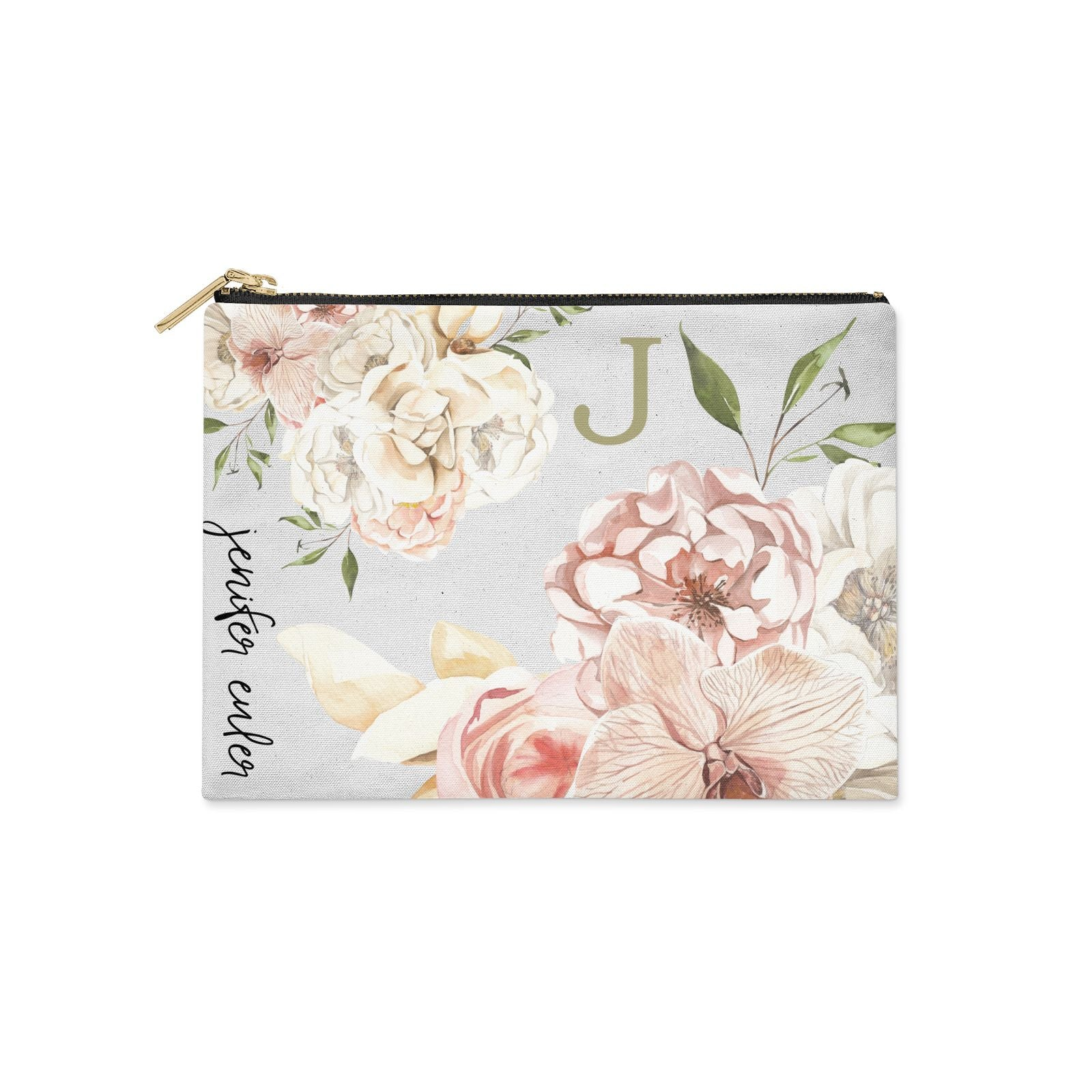 Spring Flowers Personalised Name Clutch Bag Zipper Pouch