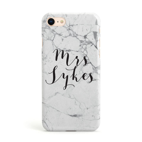 Surname Personalised Marble Apple iPhone Case
