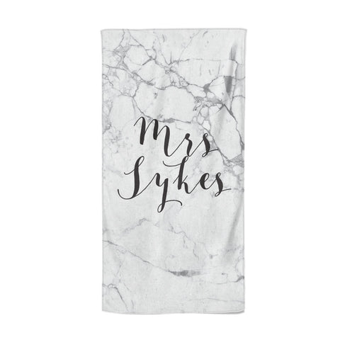Surname Personalised Marble Beach Towel