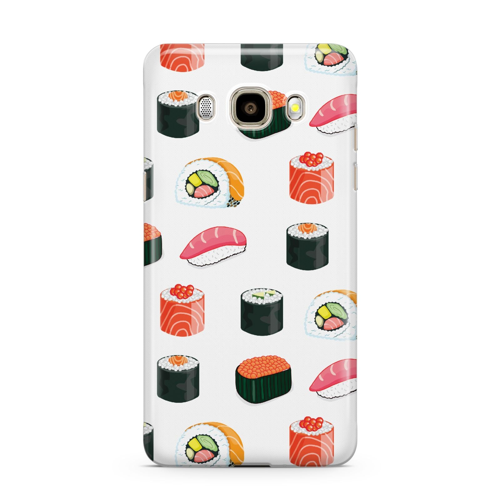 Sushi Pattern 1 Samsung Galaxy J7 2016 Case on gold phone