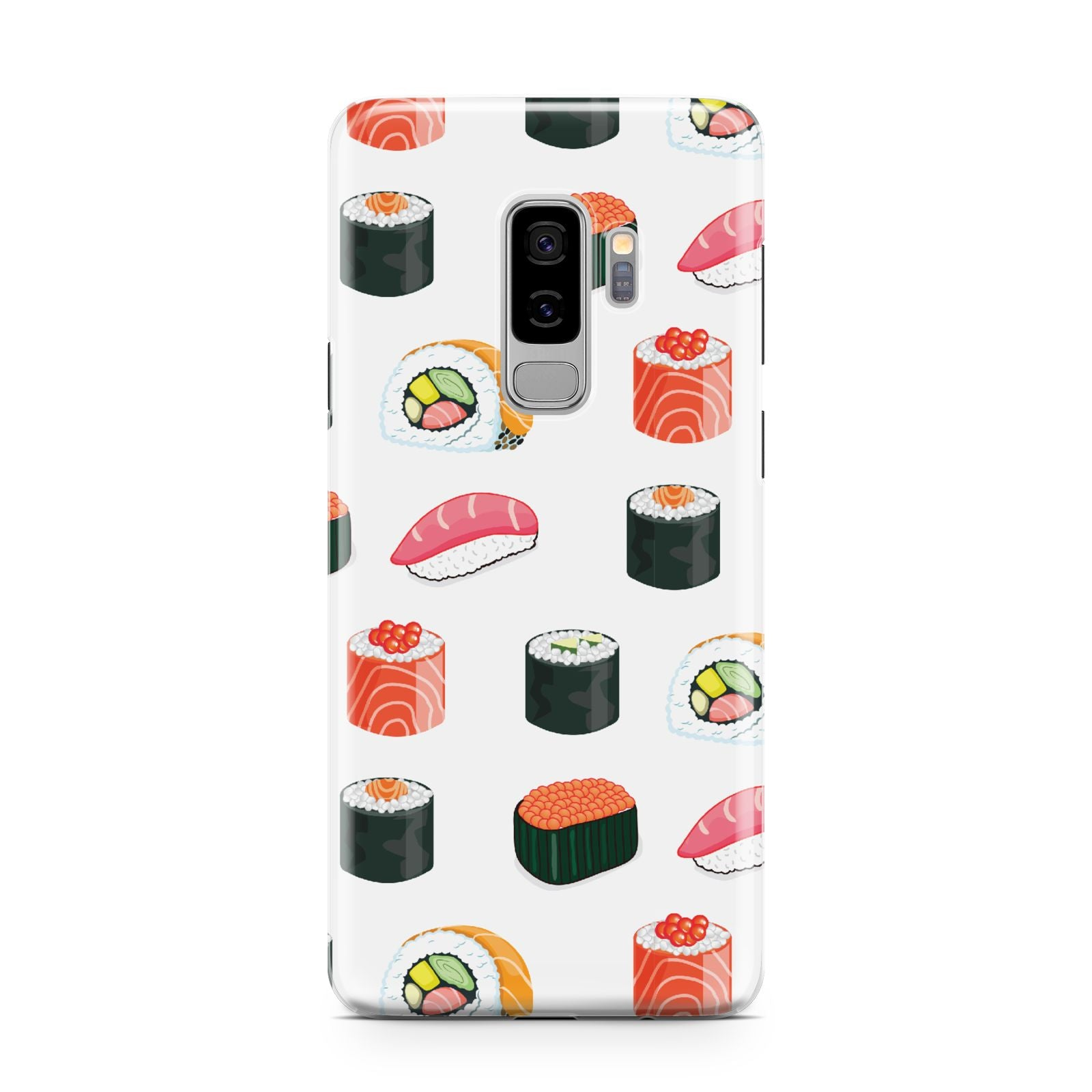 Sushi Pattern 1 Samsung Galaxy S9 Plus Case on Silver phone