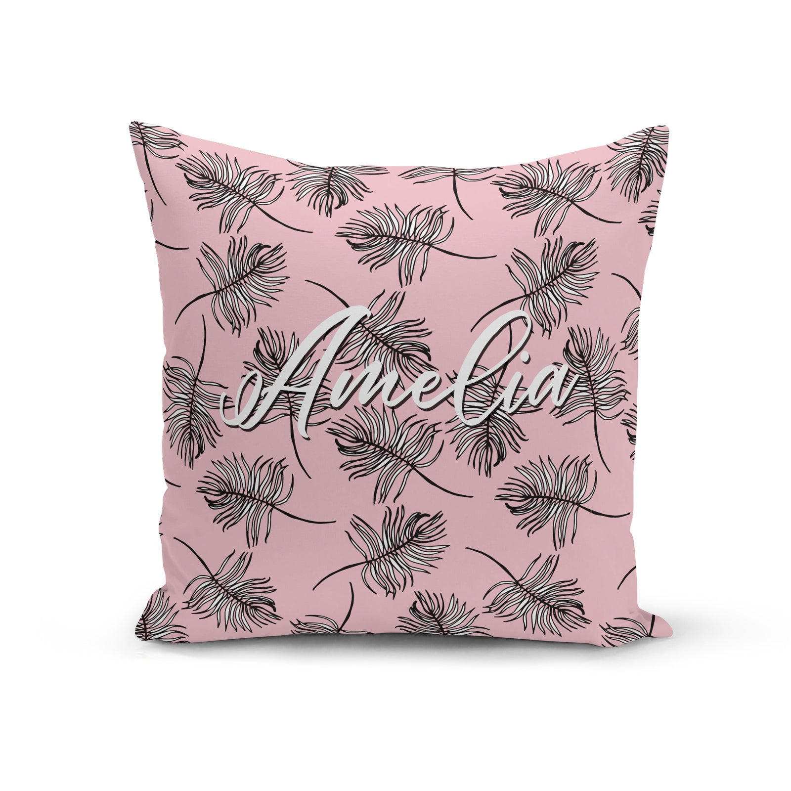 Personalised Tropical Pink and Black Leaf Cushion