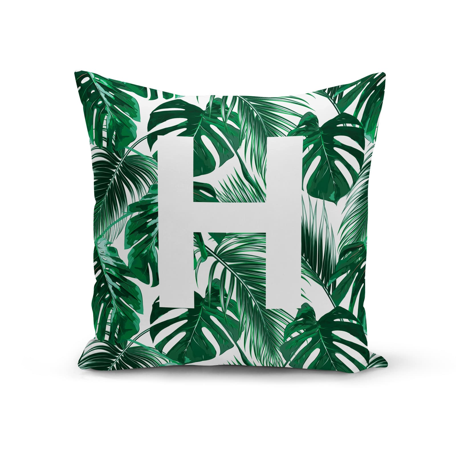 Personalised Tropical Leaves Jungle Print Initial Cushion