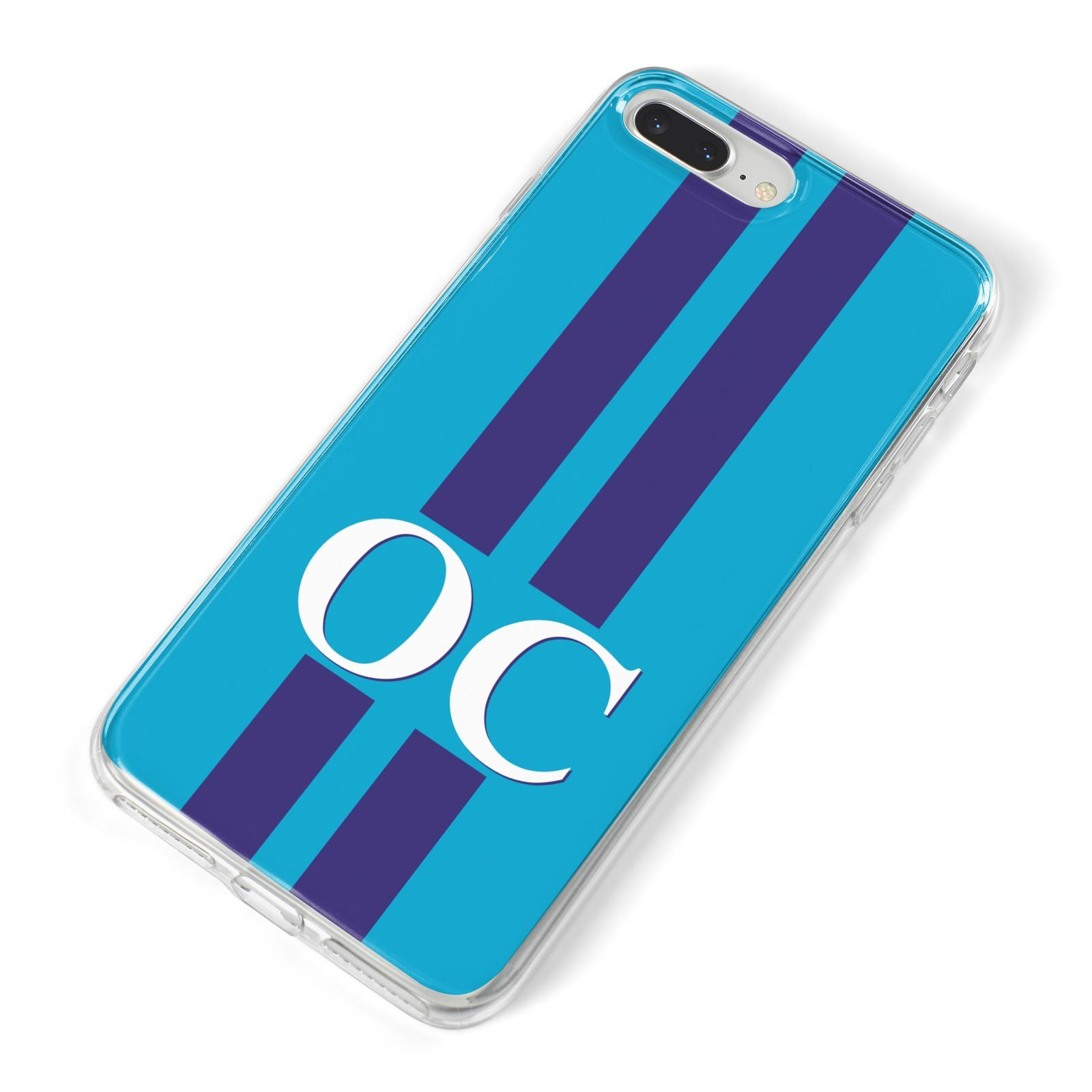 Turquoise Personalised iPhone 8 Plus Bumper Case on Silver iPhone Alternative Image