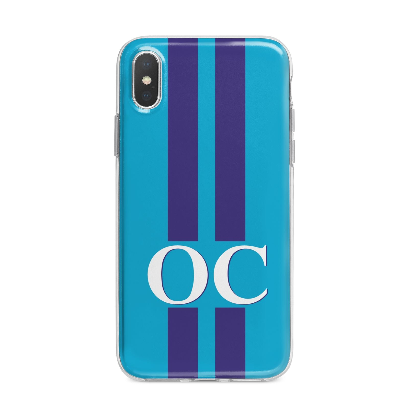 Turquoise Personalised iPhone X Bumper Case on Silver iPhone Alternative Image 1